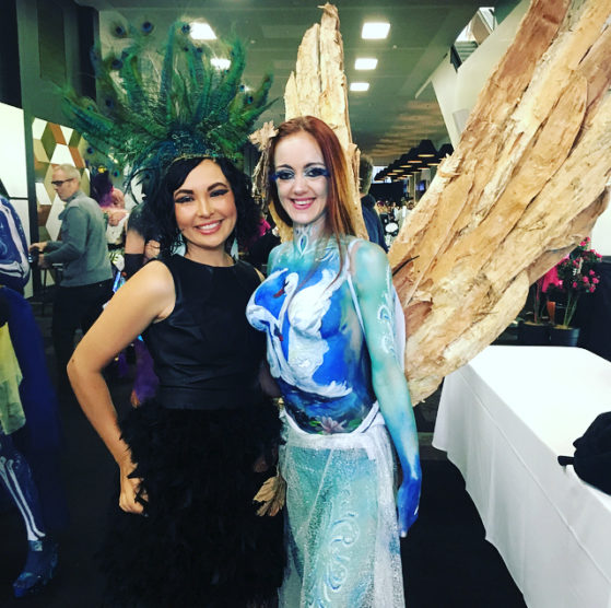 Perth Hair and Makeup Artist Awards- I love these wings handmade by body artist Hilly Jane, on gorgeous model Ashlee G!