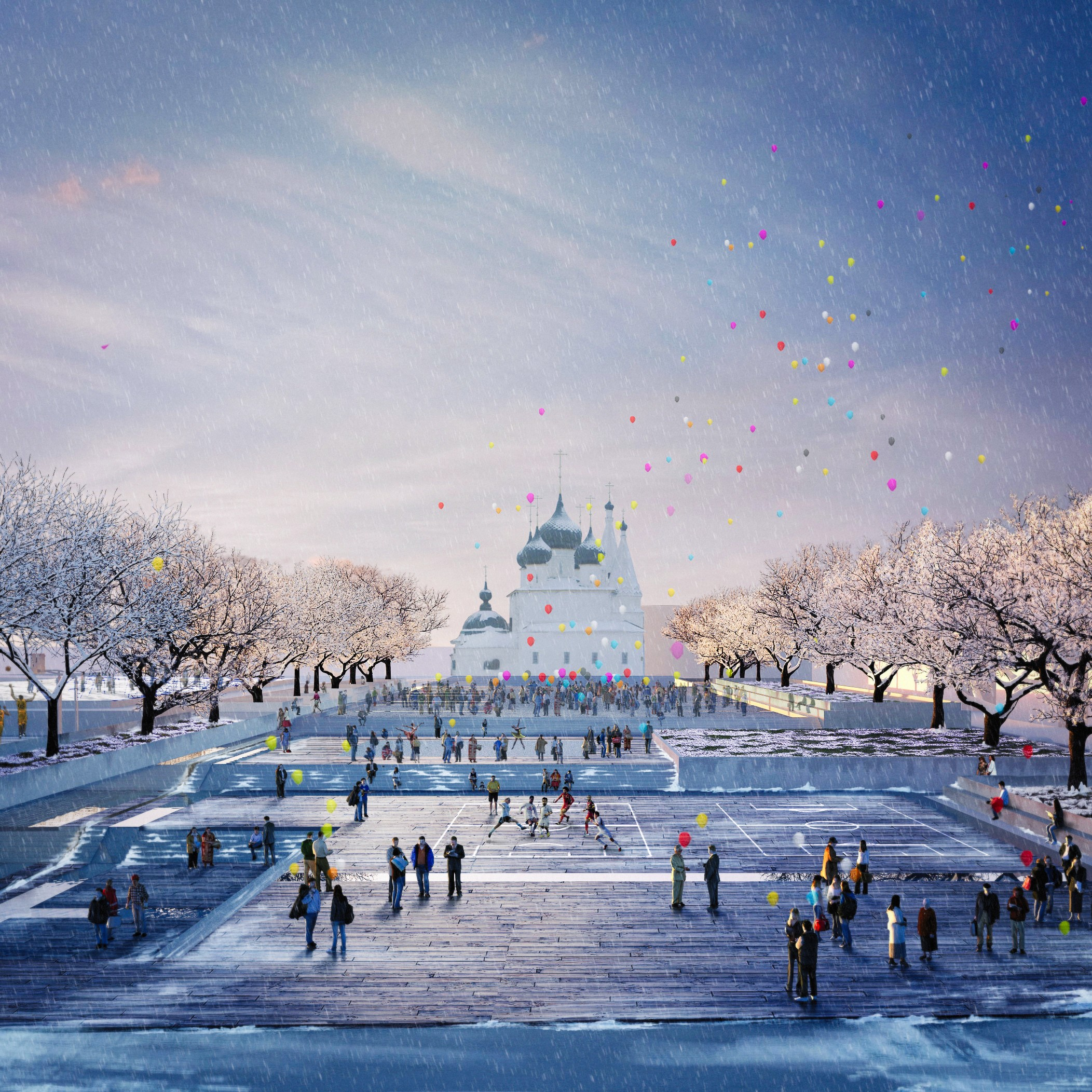 Community and Earth – Art Gallery & Public Plaza - The design submerges the Art Gallery into the earth, a place to escape and quietly enjoy Art. On the roof, a large public plaza frames views of the nearby heritage church. A place to celebrate, iceskate and gather as a community.