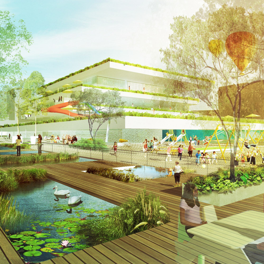 landscape of DIVERSITY - AQUATIC CENTER & PUBLIC PARK - In a dense, urban context a park and an aquatic centre become a precious opportunity. The design interweaves natural textures and rhythms within the urban fabric.