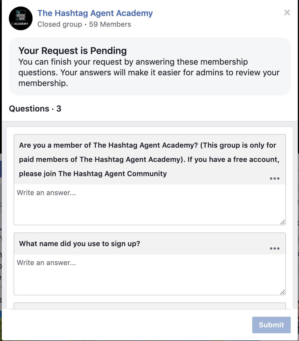 Facebook Group Questions
