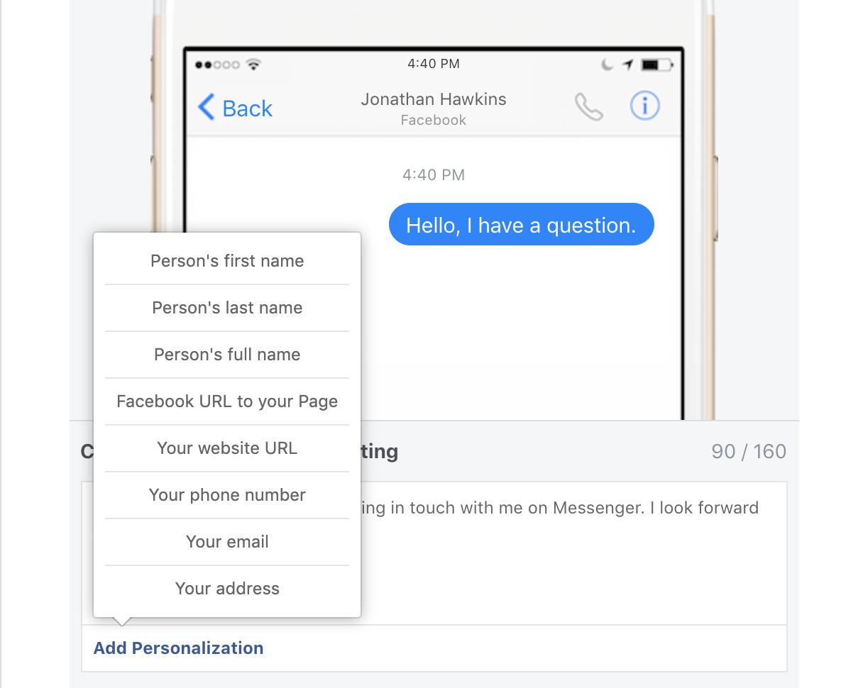 Personalization Facebook Messenger