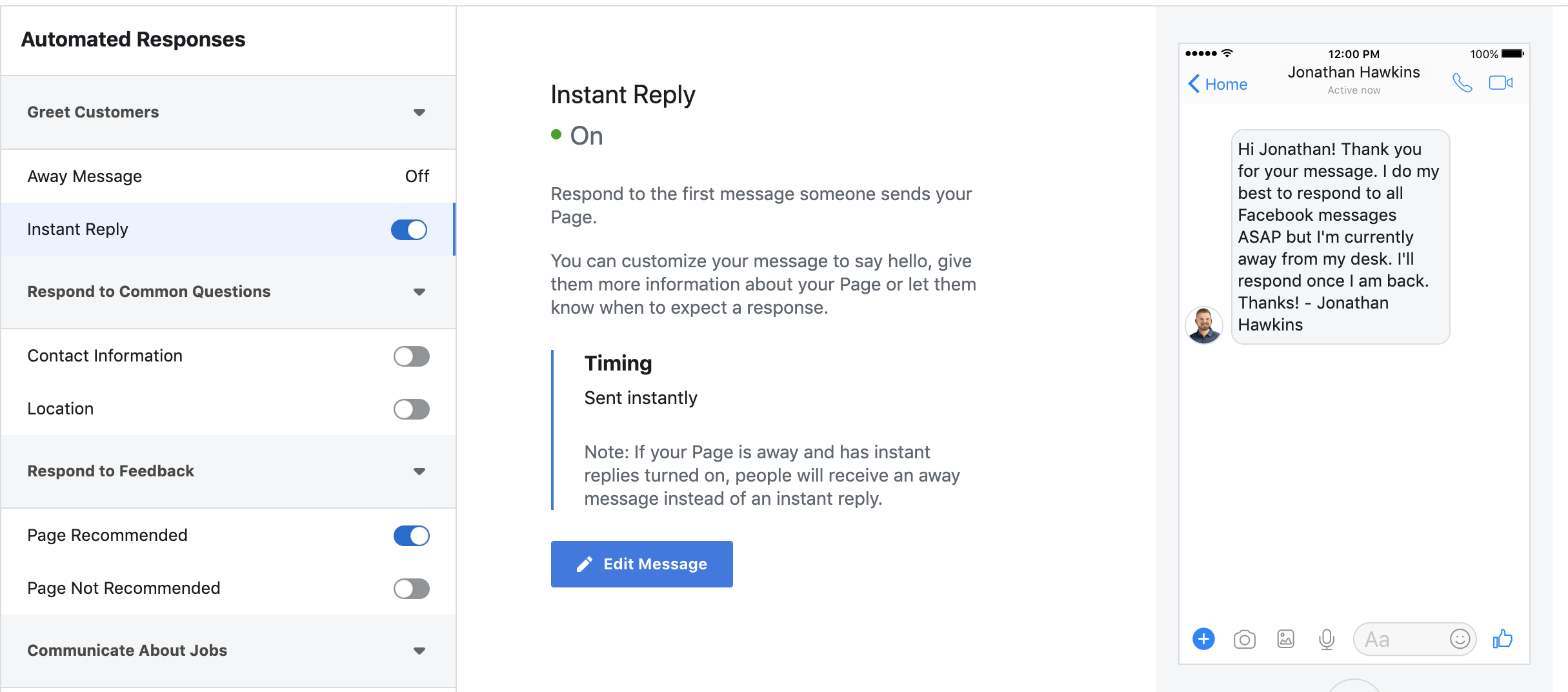 Messenger Instant Reply