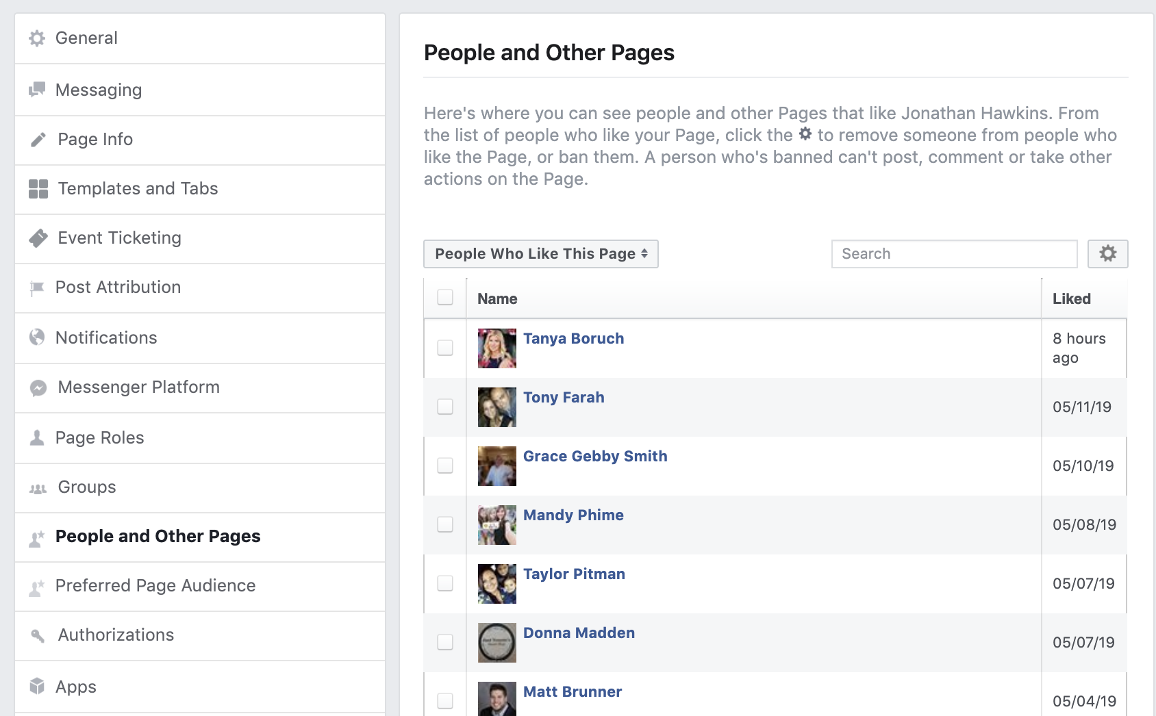 Facebook People and Other Pages
