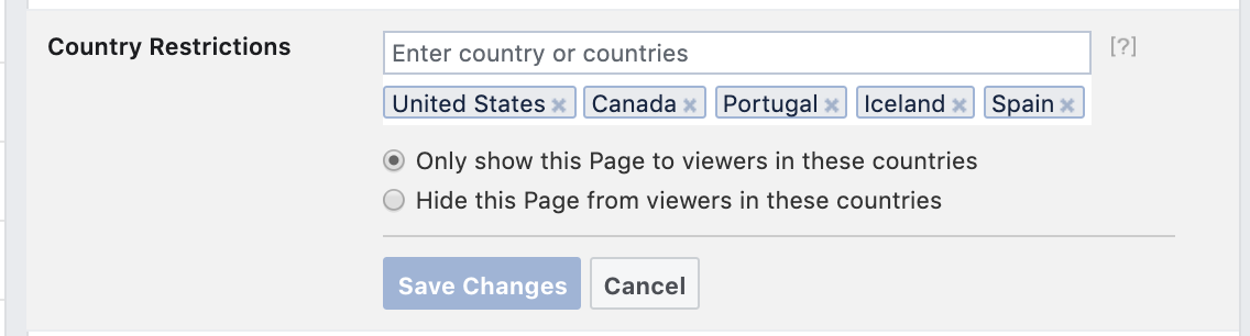 Facebook Country Restrictions