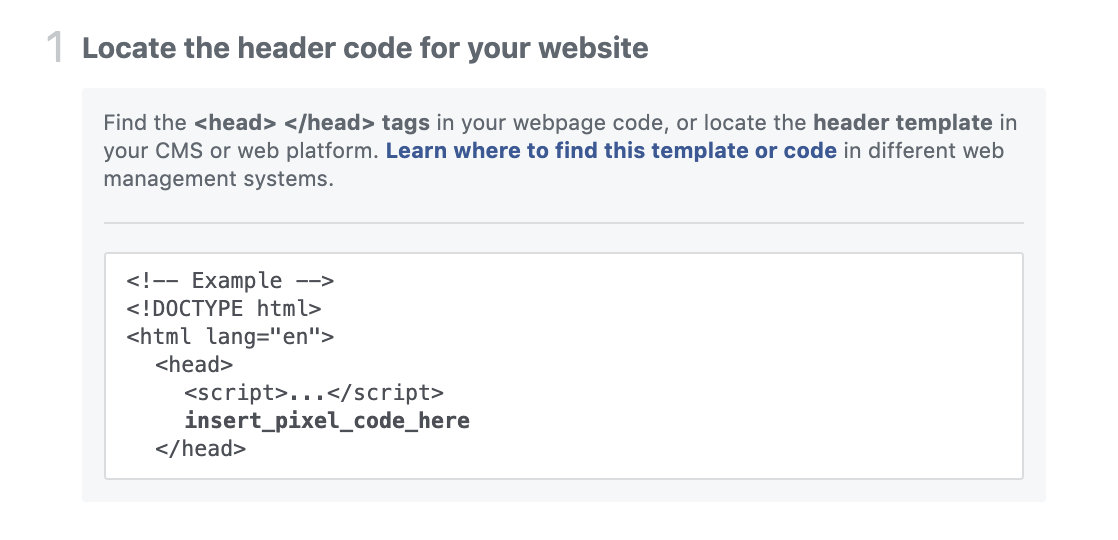 Locate the header code for your website