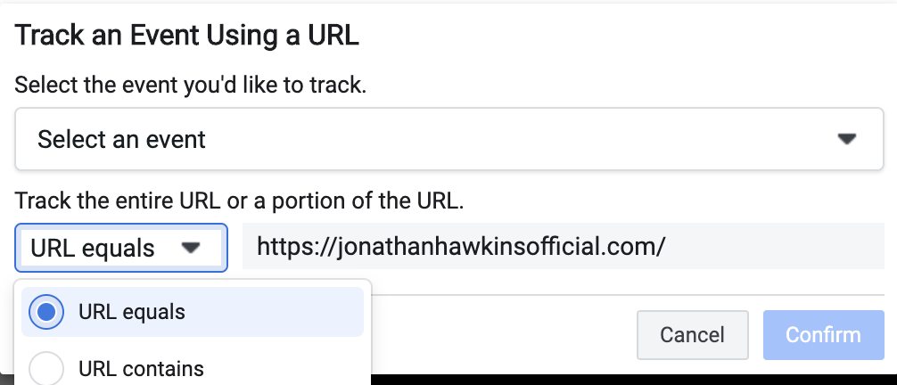 Track an event using a url