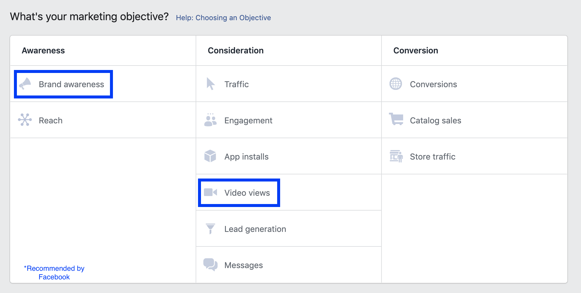 Facebook Video Objectives