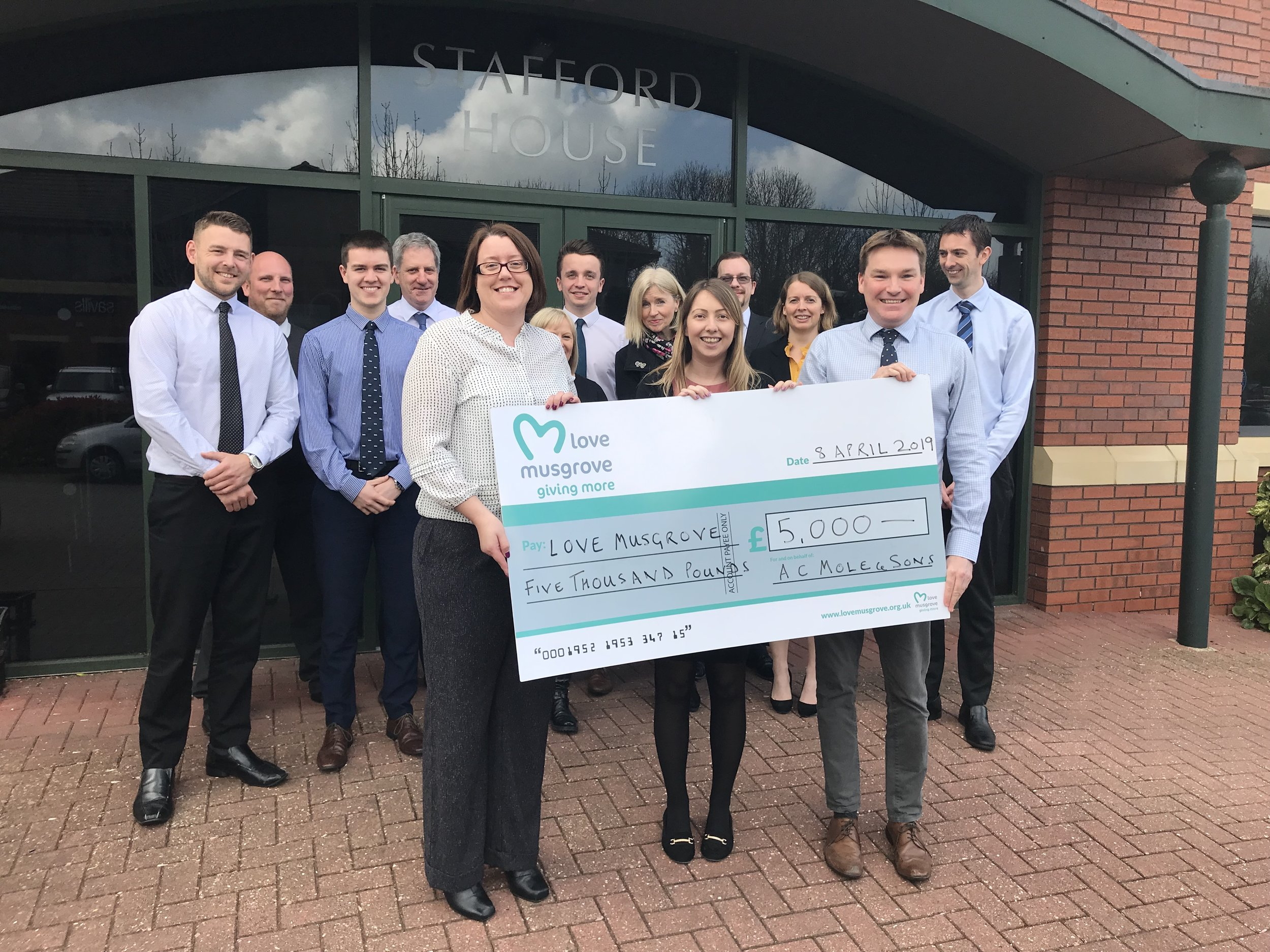 AC Mole & Sons raised £5,000 for Love Musgrove in 2018.