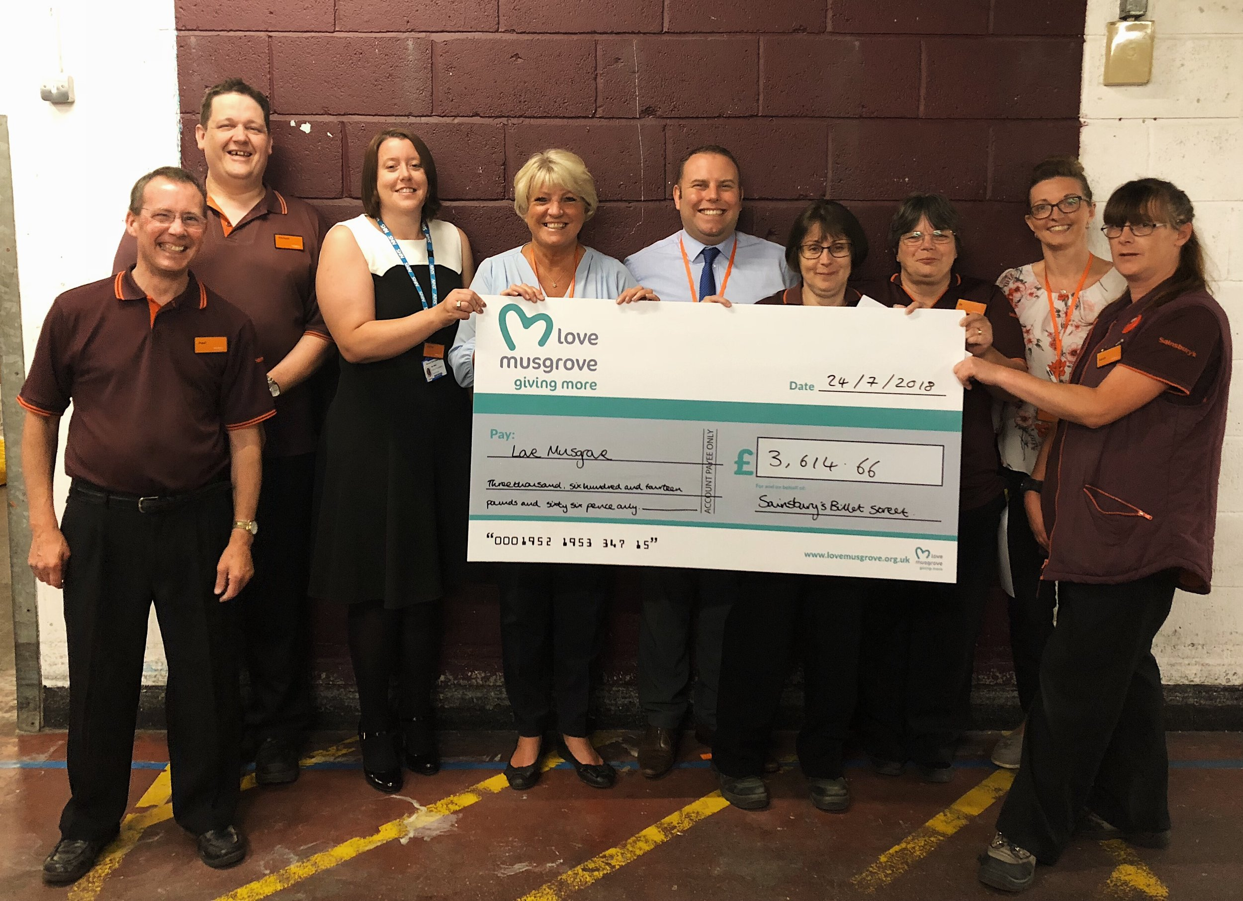 Sainsbury's Billet Street Store in Taunton donated over £3,000 in 2018.