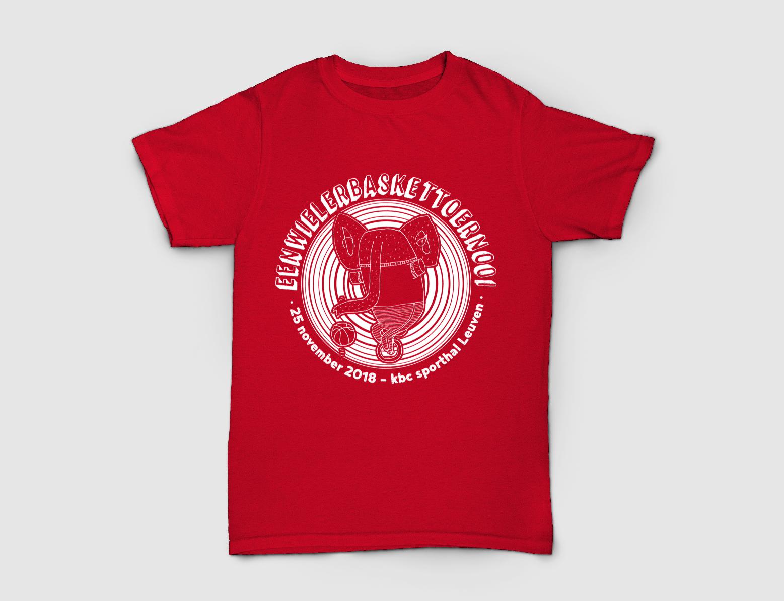 T-shirt ontwerp 'Eenwielerbaskettoernooi'