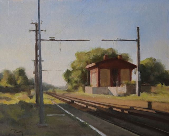 « Gare de Montlaur », Huile, 41x33 cm, ©fpenouty #florencepenouty  #firstoilpainting #oilpainting #landscapepaintings