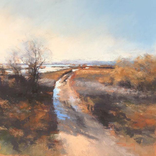 """""""Chemin des Étangs, Bages"""" pastel sec, 32x32cm #pastel #paintings #florencepenouty #landscapepainting"""