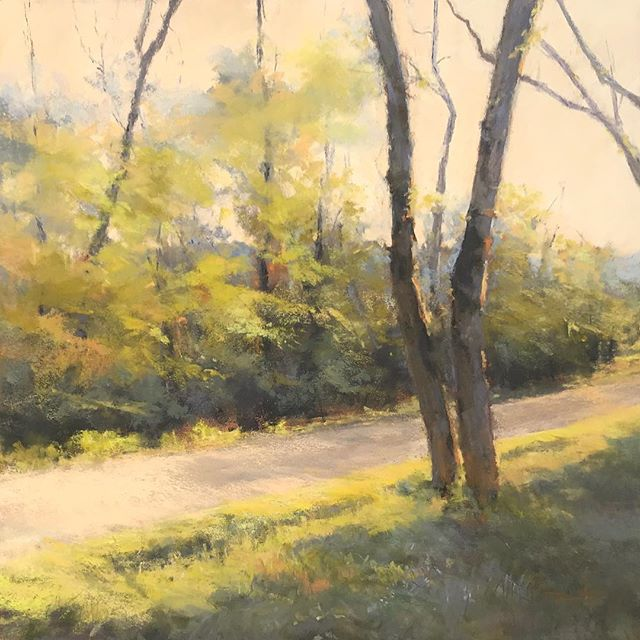 Peinture de printemps «À l'orée du bois» pastel sec 38x38 cm #pastelpainting #art #paint #landscapepainting #florencepenouty