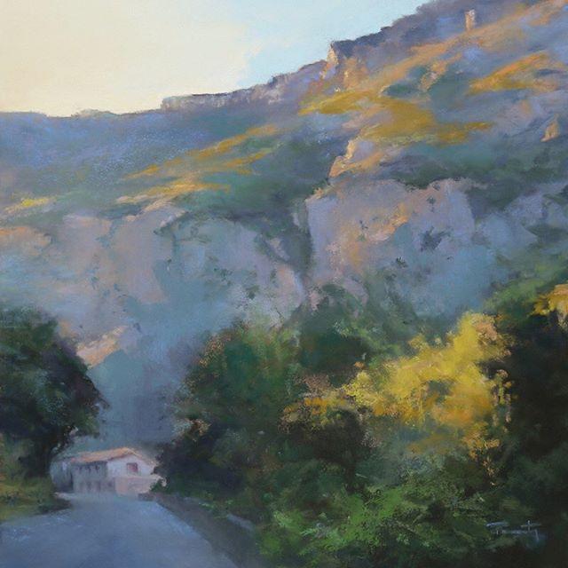 """""""Gorges de la Pierre-Lys""""  pastel sec, 32x32 cm #florencepenouty #painting #pastelpainting #landscapepainting #lightpainting"""