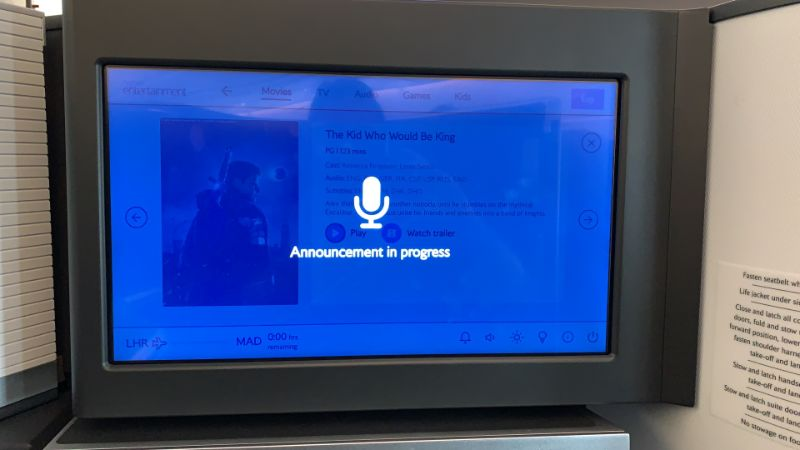BA Club Suite In-Flight Entertainment