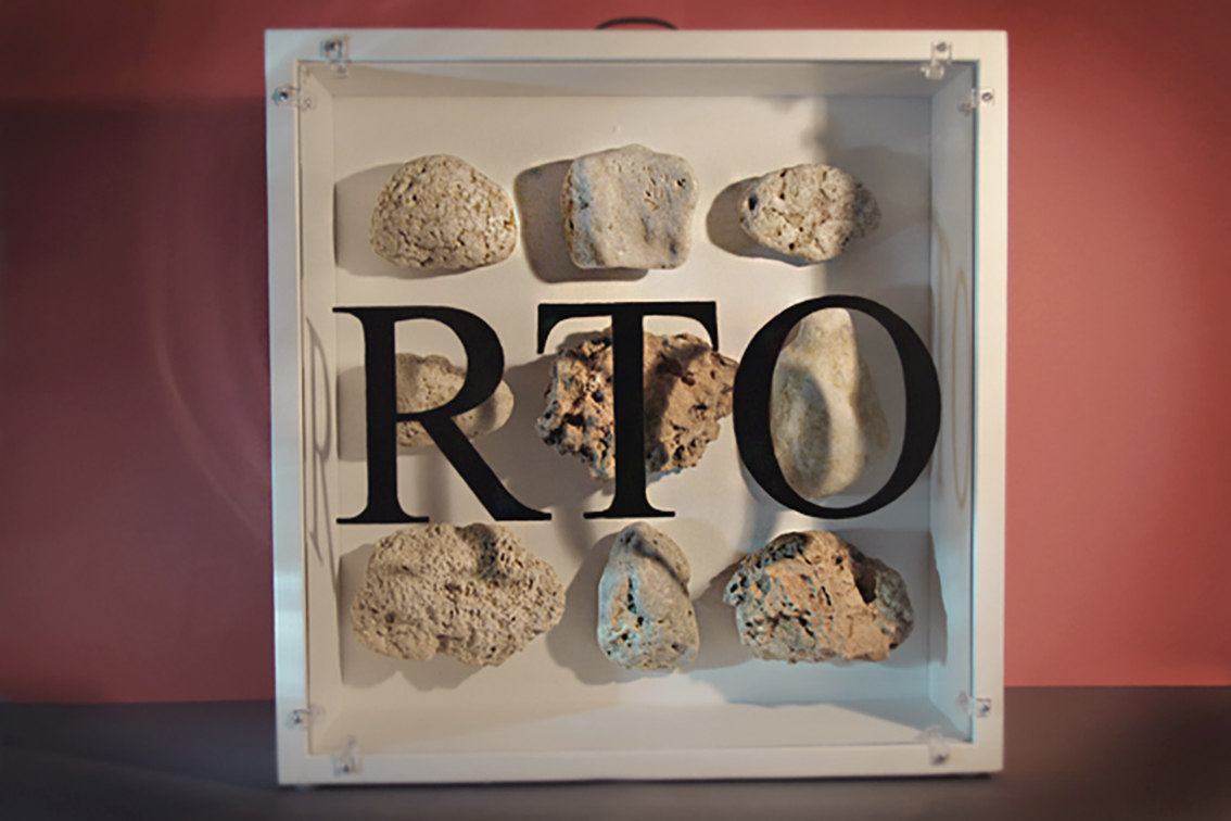 RTO I - Wood, Glass, Stone, Chrome, Text. 45cm x 45cm.