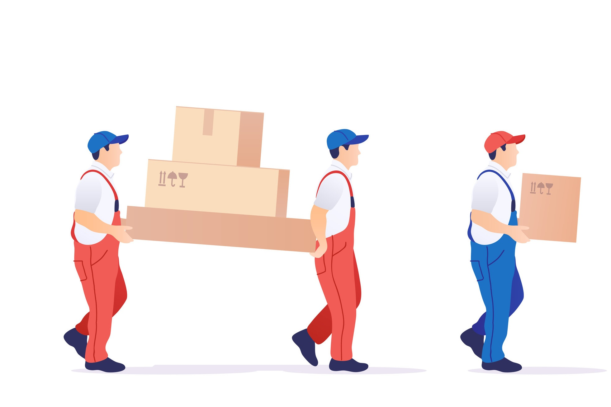 Men carrying boxes to storage.