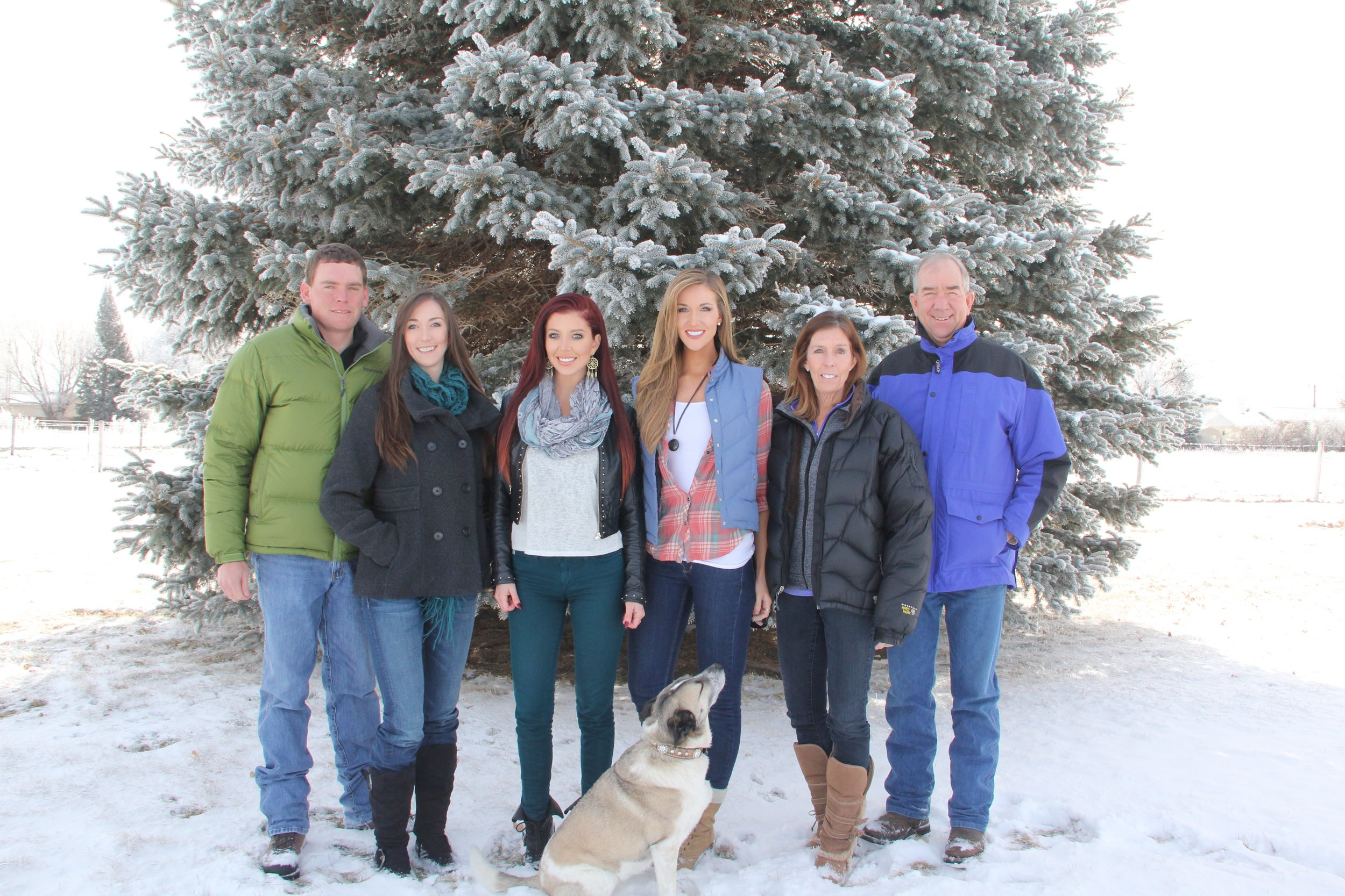 Eric (Christin's husband), Christin, Holly, Jessie, Mary, Jim and Scout - 2016