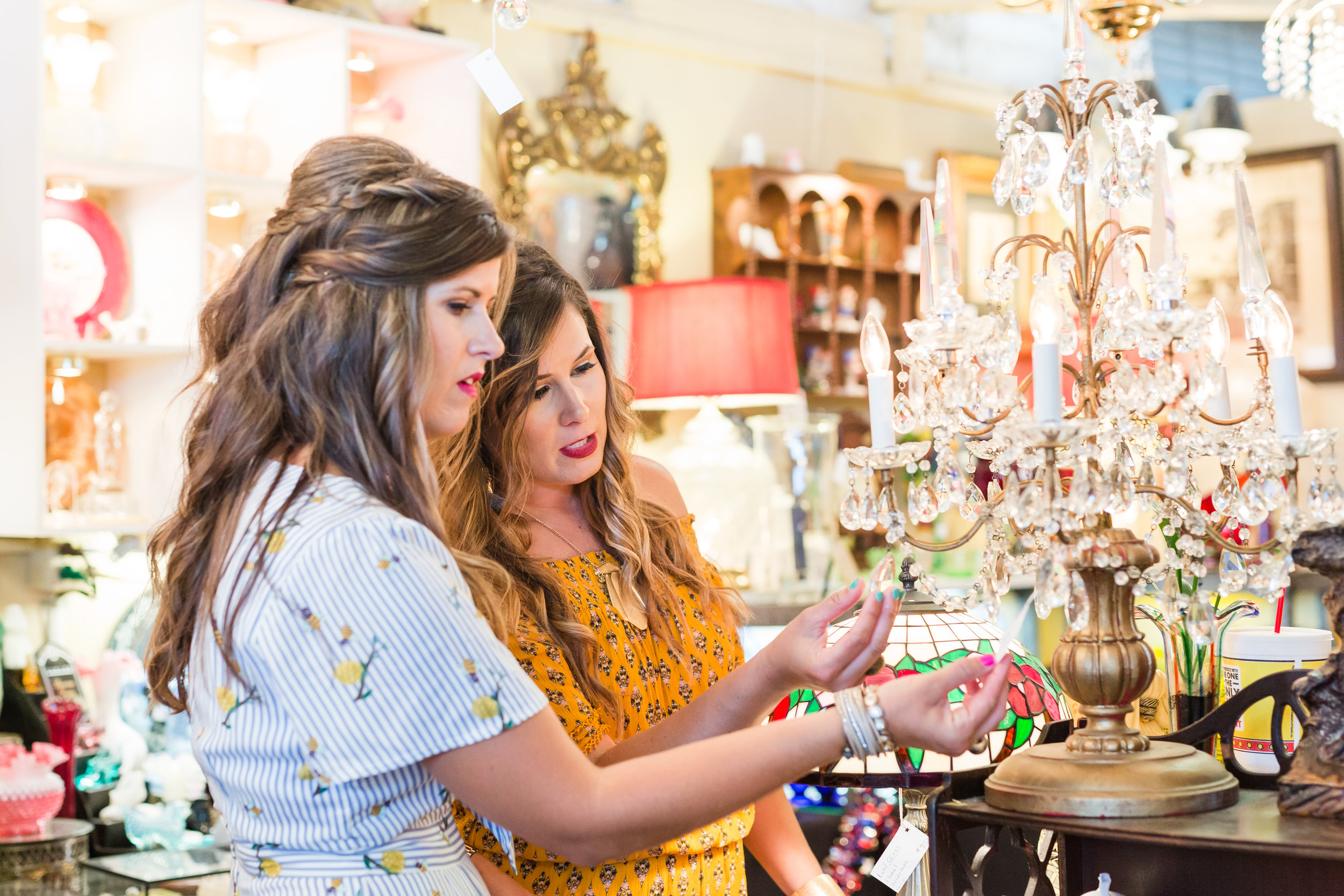 Holly and Amanda shopping for their next specialty rental item.  image:  Tracy Huffman Photography , makeup by  @kmichelleclark  shot at the amazing @raleighfleamarket