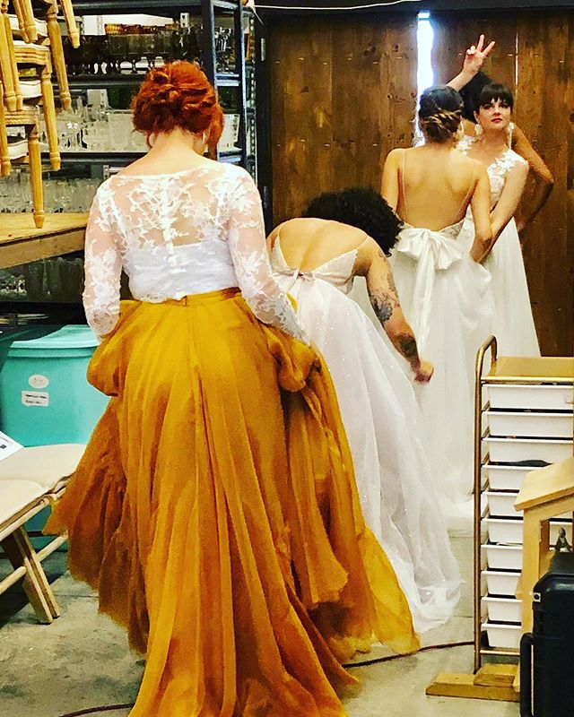 We love this behind-the-scenes snap of @gildedbridal models about to head into the showroom. Thanks for joining us for the market! Watch this space for updates!
