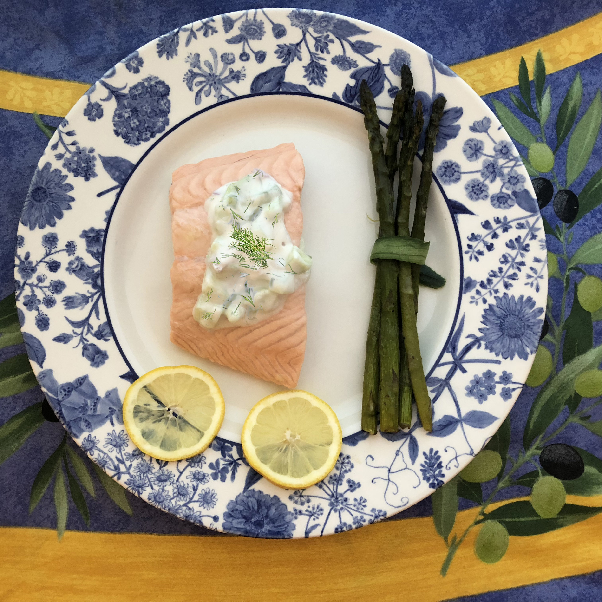 Poached Salmon with Cucumber Dill Sauce and Asparagus