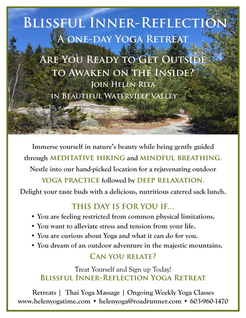 A yoga retreat will be more deeply rejuvenated practicing yoga in Waterville Valley. Does doing yoga on the pond sound appealing? Or, the deep woods along a waterfall, or on a mountain? Or, how about a fully equipped yoga studio with mats, blocks, straps and bolsters.