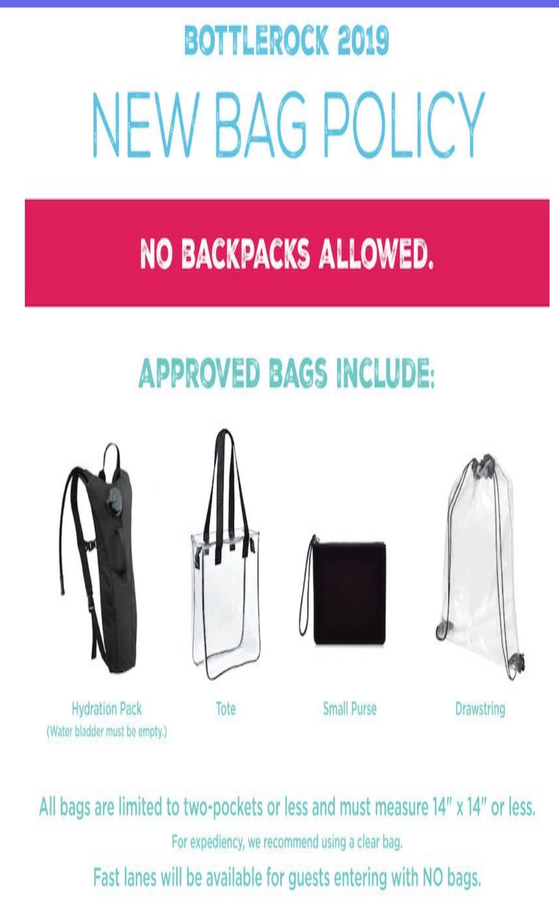 IMPORTANT PSA for 2019: New this year…no backpacks!
