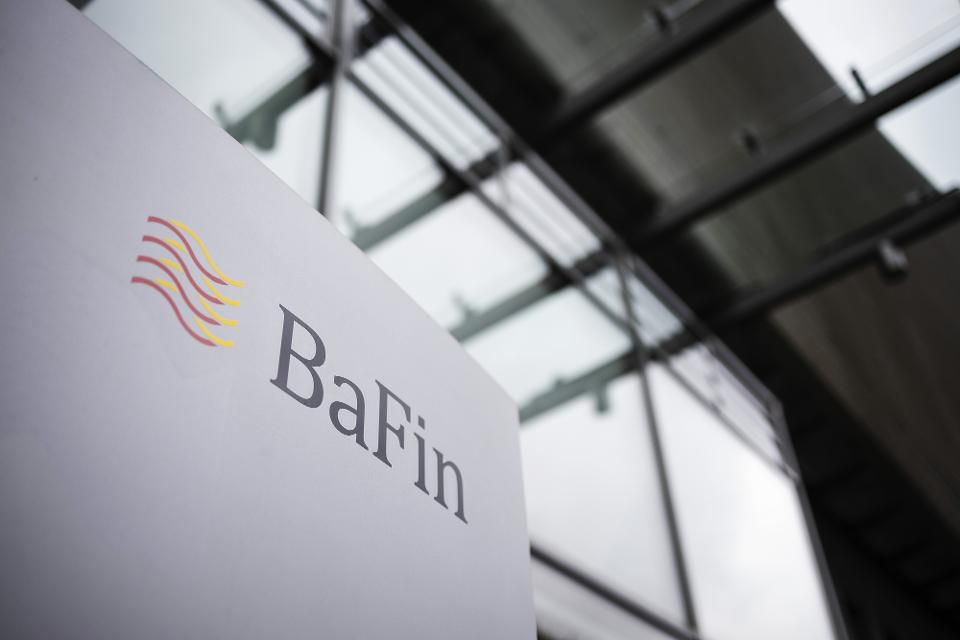 The BaFin logo sits on a sign outside at the German bank regulator's headquarters in Frankfurt, Germany, on Wednesday, May 8, 2019. Photographer: Alex Kraus/Bloomberg  © 2019 BLOOMBERG FINANCE LP