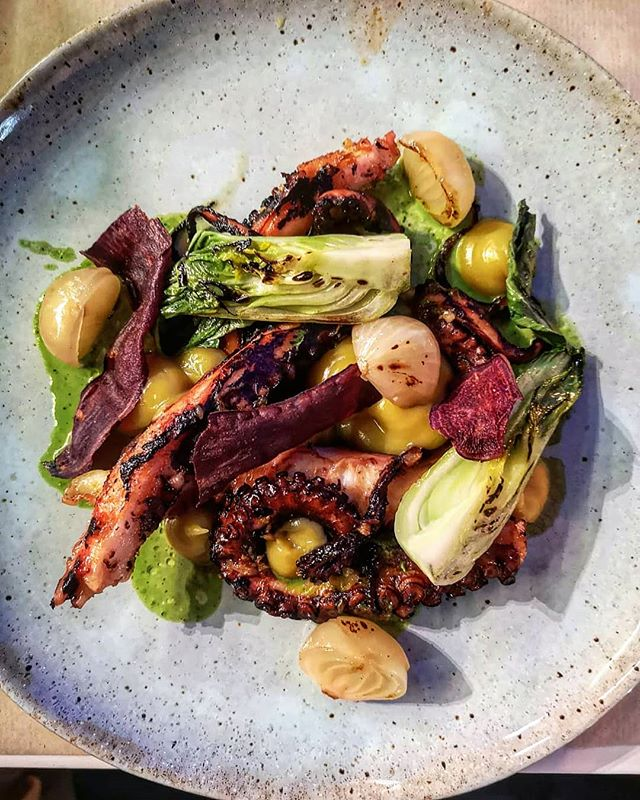 Perfectly grilled octopus with charred lettuce, beetroot crisps,  onions & sweet potato puree.  Only time I've had octopus this tender is in Florence. Cooking too fast makes it chewy, as does overcooking it.  So often is it disappontingly rubbery. Rare to have it this spot on 👌🐙 #foodie  #foodblogger #instafood #instafoodie #instafoodies #instagood #gastronomy #foodporn  #photooftheday  #foodiesofinstagram #algarve #portugal🇵🇹