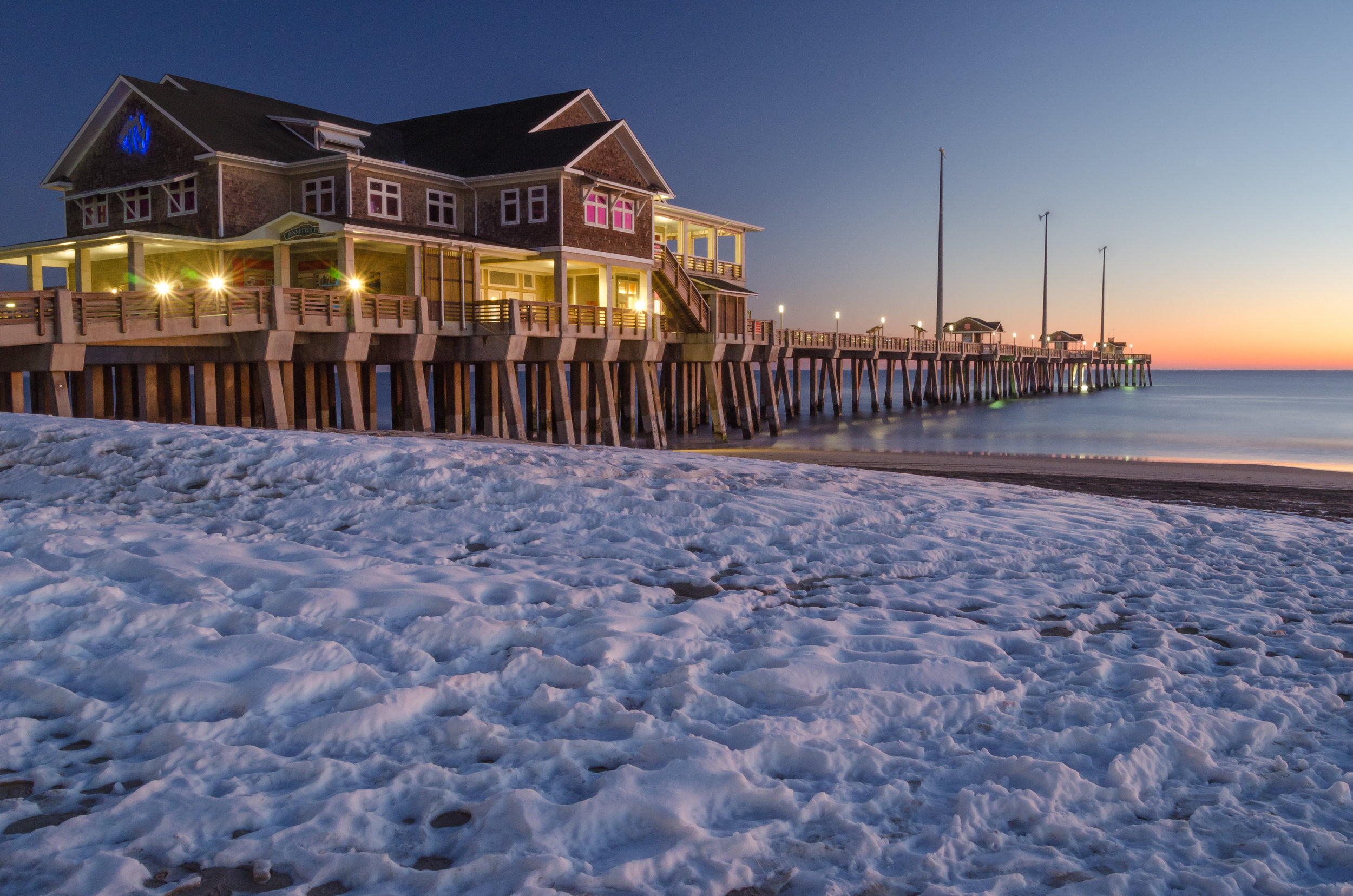 Snowy Sunrise at Jennette's Pier in Nags Head on the Outer Banks of North Carolina.jpg