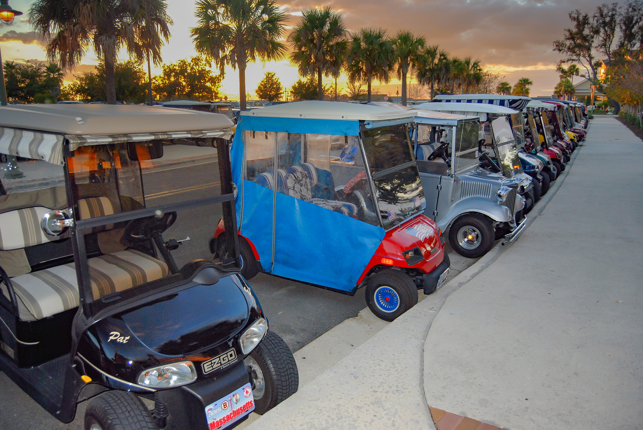 The Villages-Florida-golf carts-sunset-palm trees.jpg