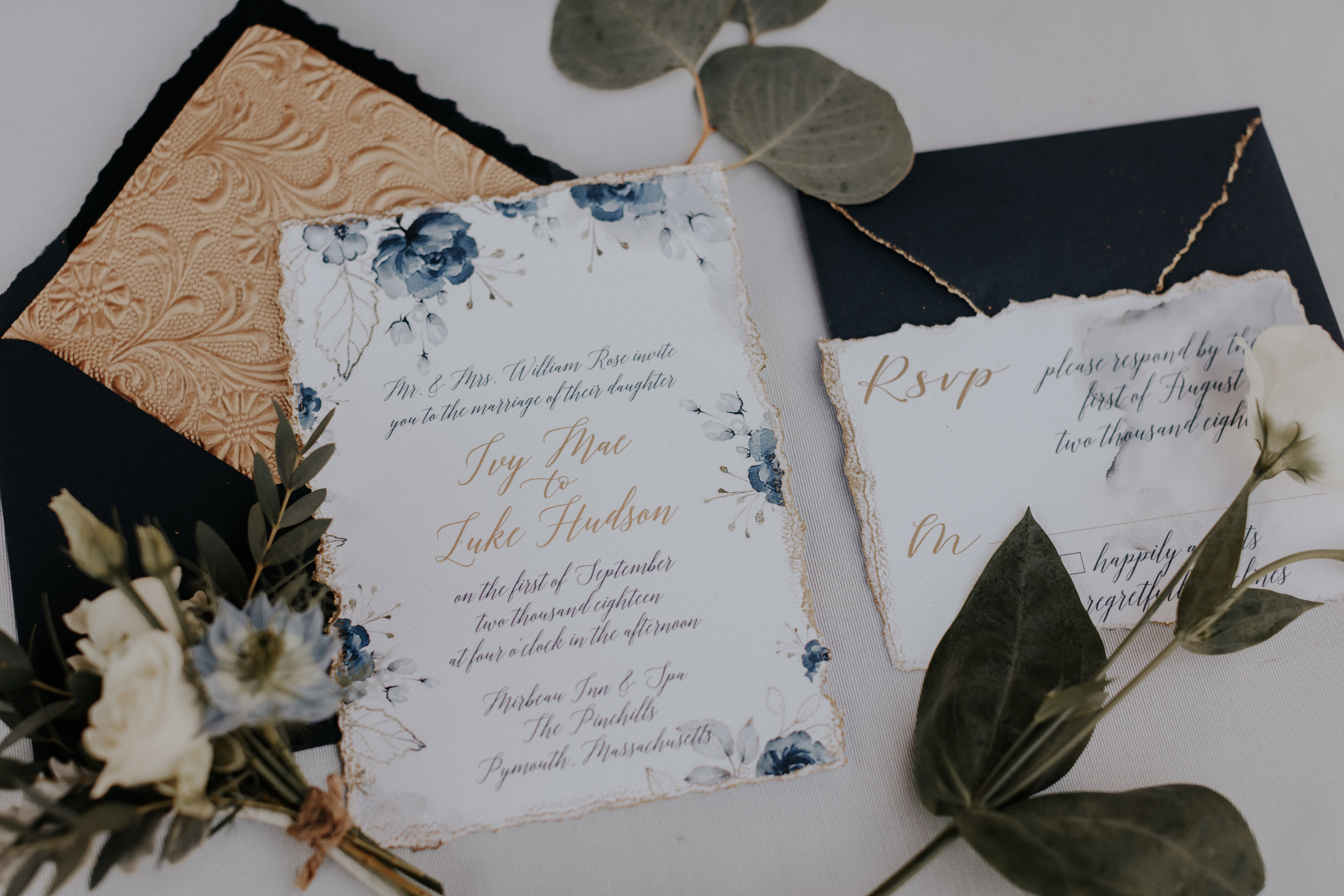 French Blue & Gold Invite