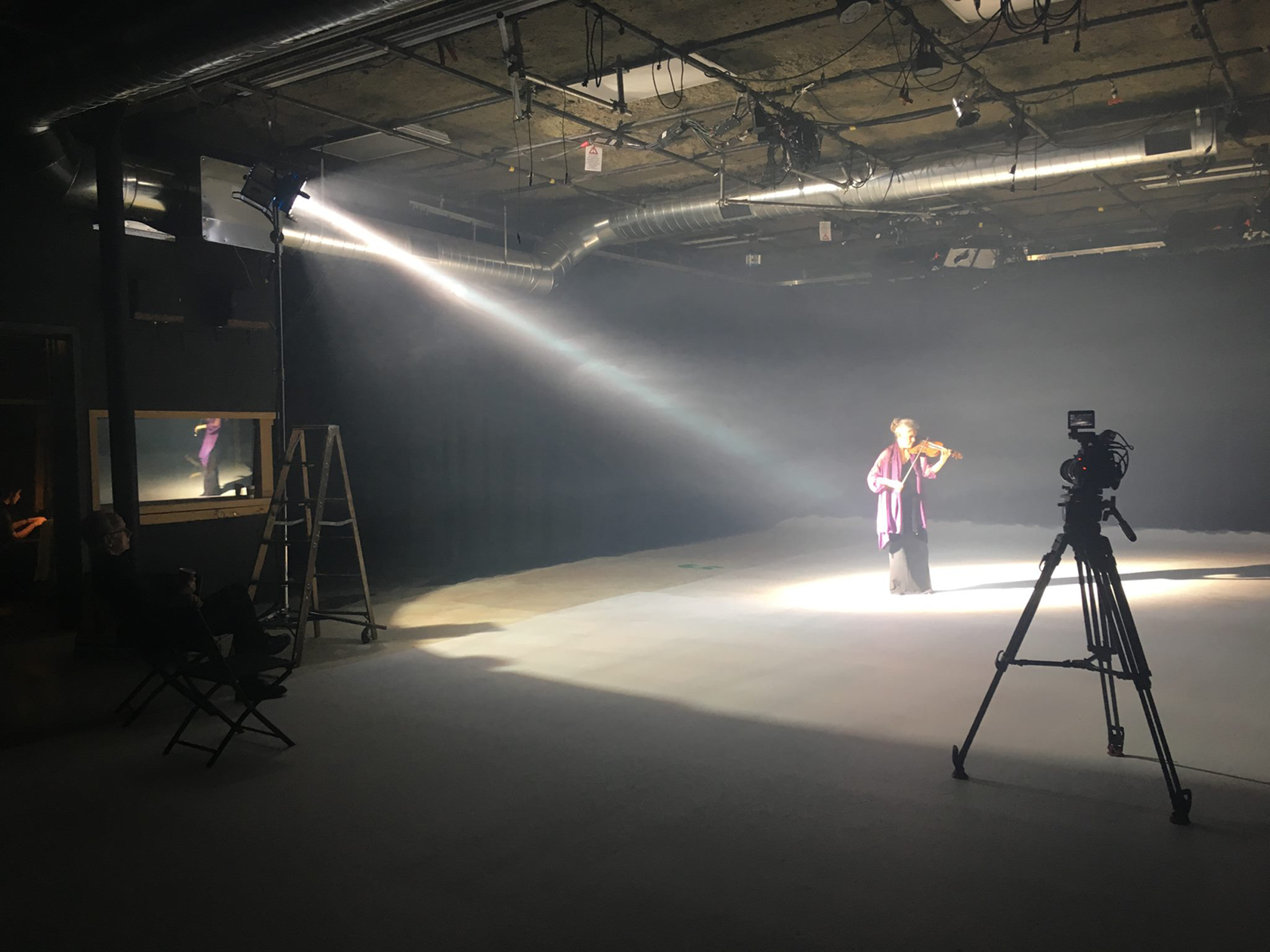 Studio  1 is a drive-in sound stage with a large cyclorama wall and kitchen. Studio 2 is an 850 square foot green screen sound stage. Both have cold lighting grids.