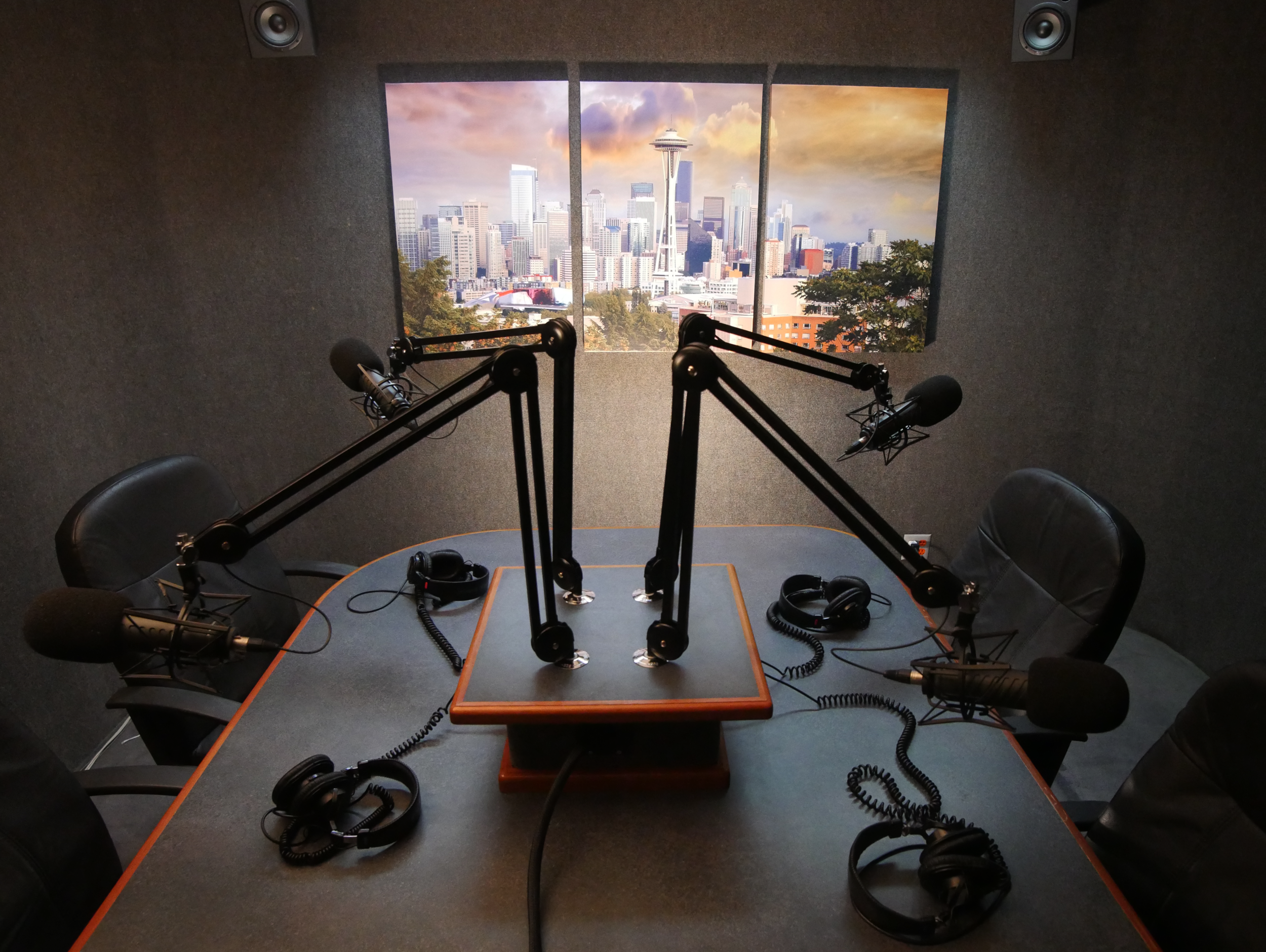 Our podcast suite is equipped for up to 4-person conversation style recording. In addition to standard recording, we can set you up to take call-ins or add video to your session.