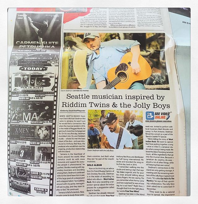 "@davinmichaelstedman always on the go- always making waves 🌊  check out his featured article in jamaica-gleaner.com . Headline: ""Seattle Musician Inspired by Riddim Twins & The Jolly Boys"" 📸 The Gleaner Newspaper"