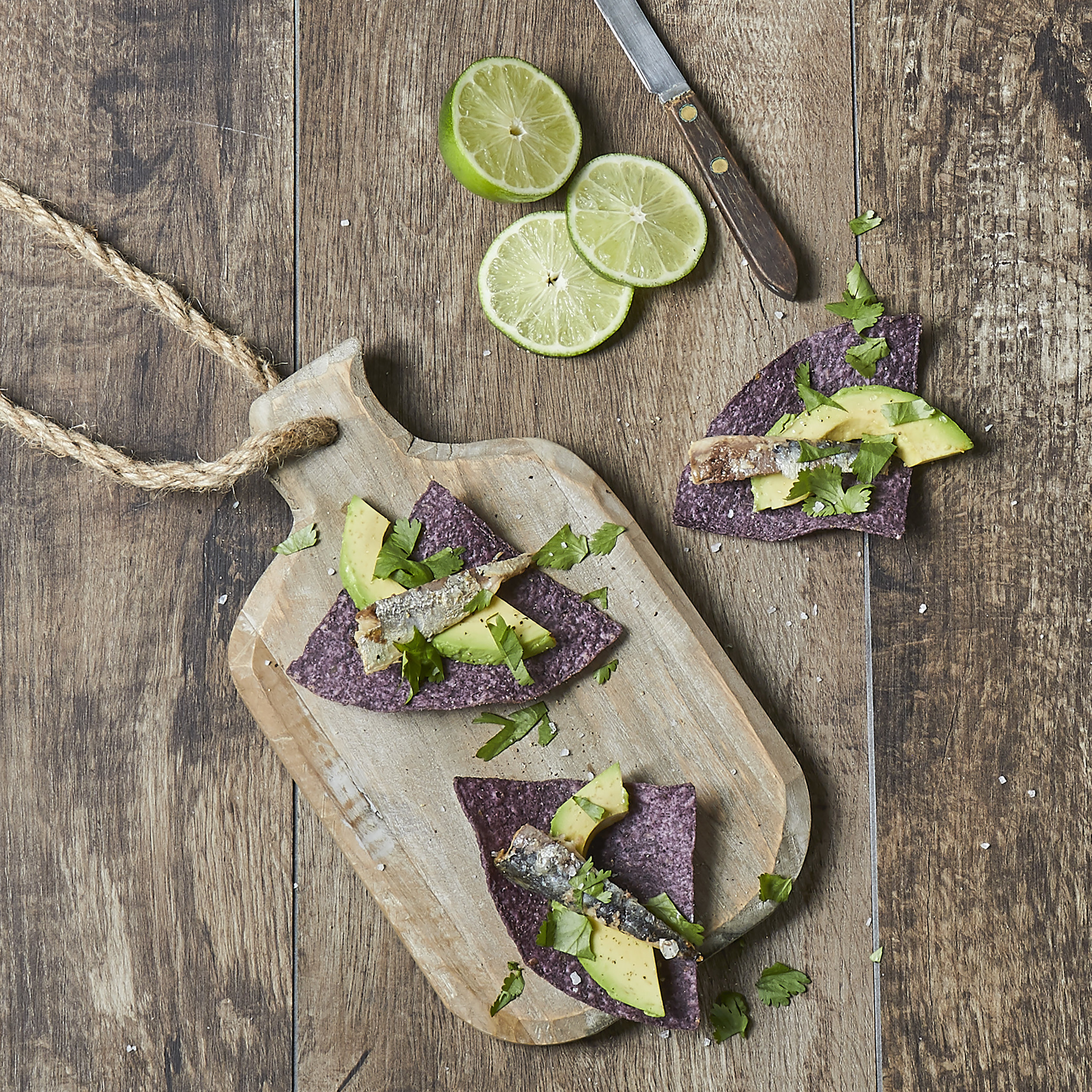 Smoked Wild Sardineson Blue Corn Chips -