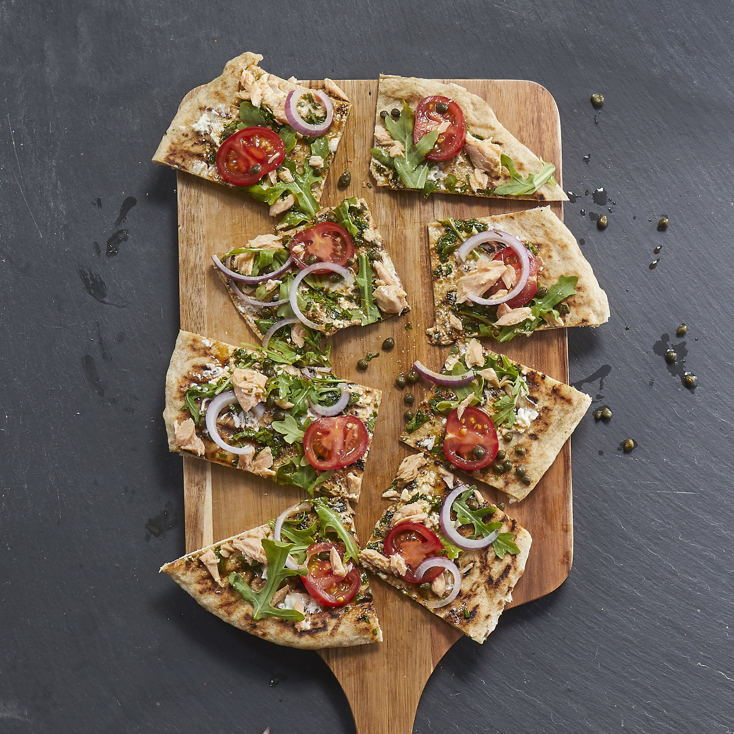 Smoked Salmon Burrata Flatbread -