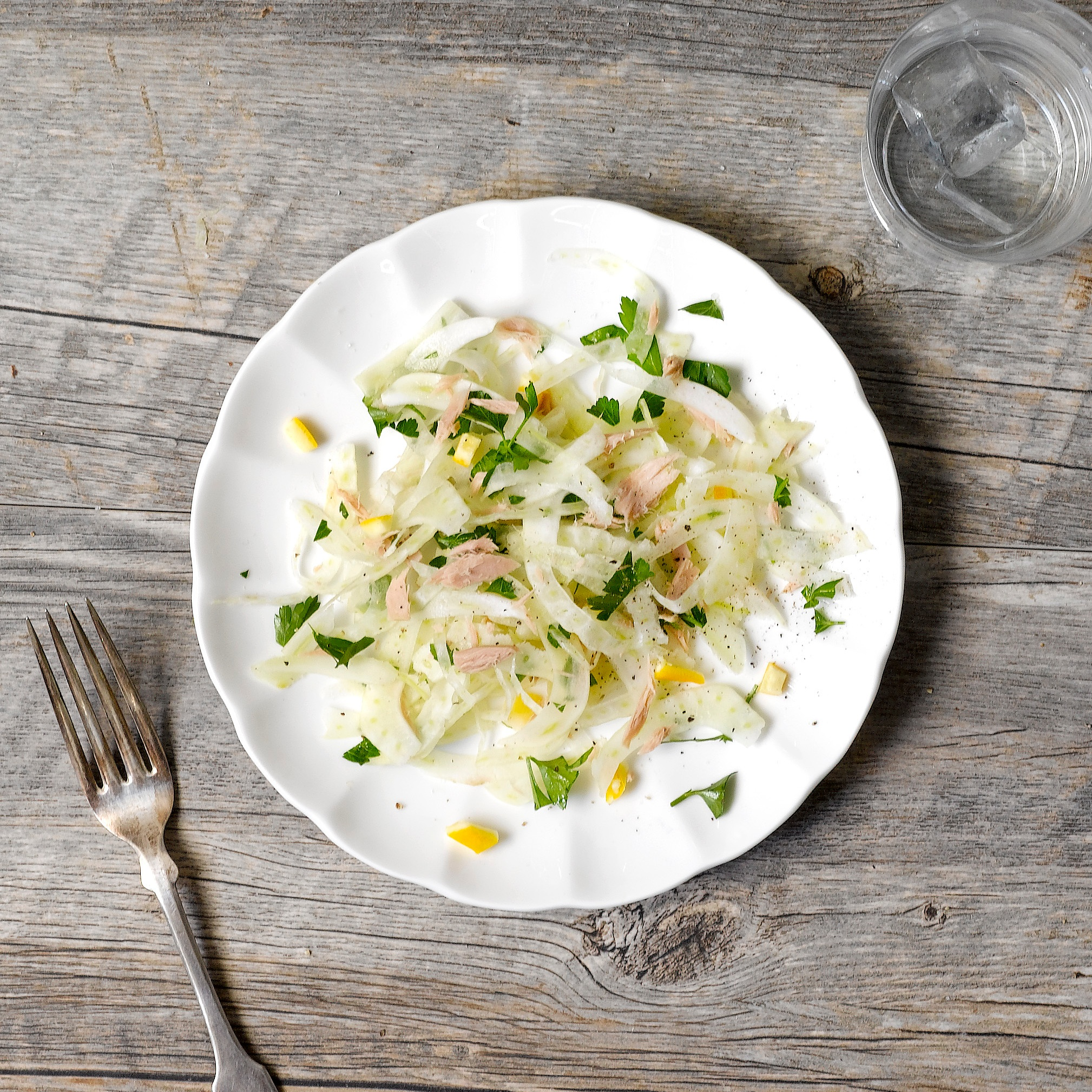 Shaved Fennel with Cole's Jarred Tuna in Spring Water with Preserved Lemon -