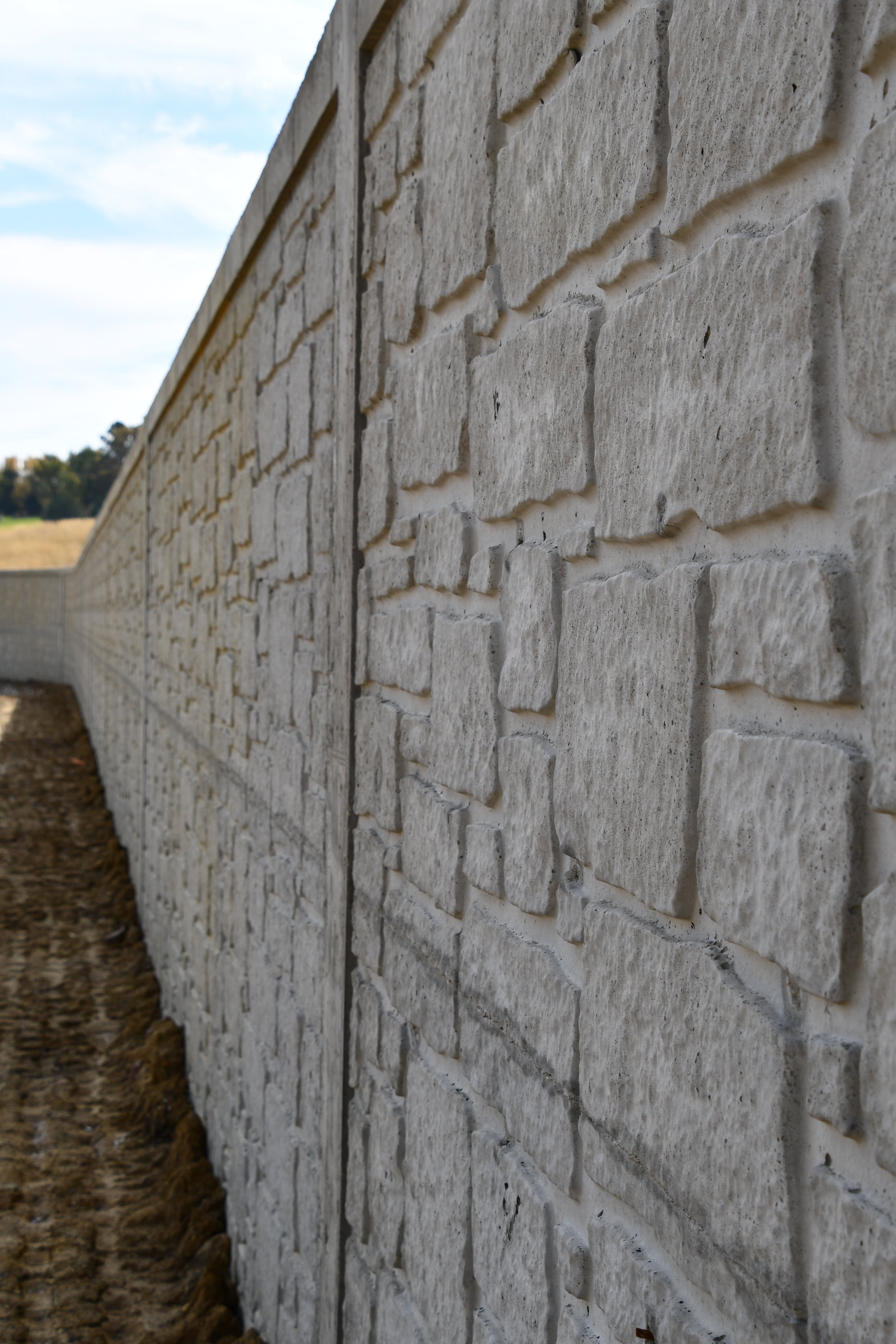 10 foot tall with radius retaining wall