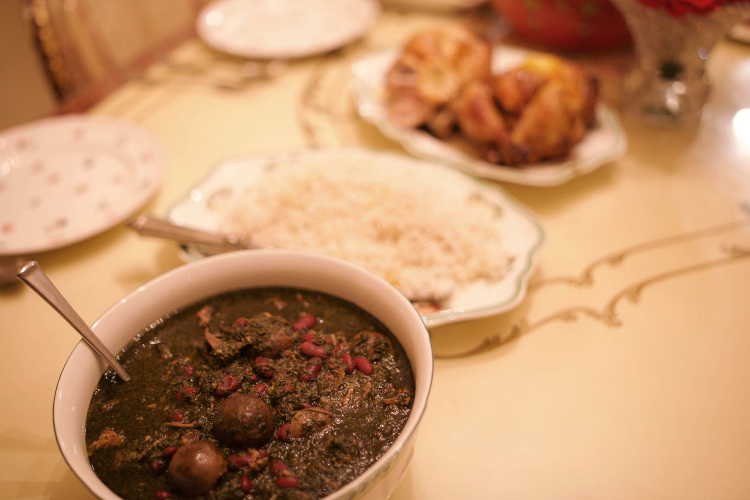 A traditional Persian Shabbat dinner always includes ghormeh sabzi