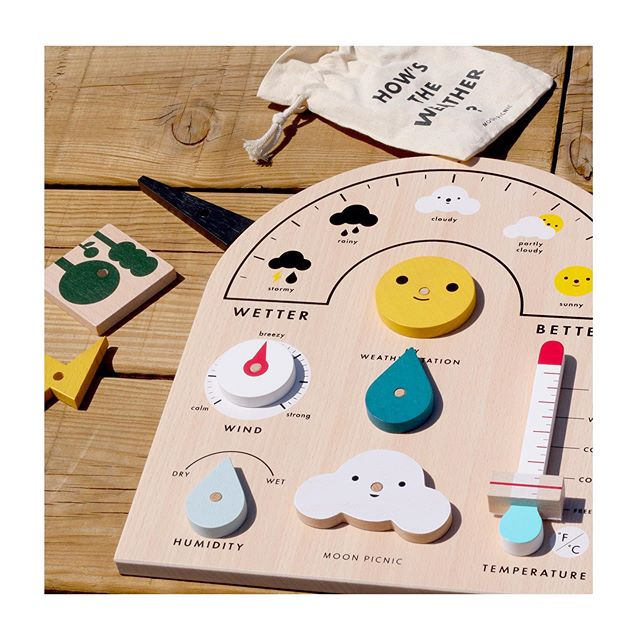 ☀️ ☁️ Learn about the weather with Moon Picnic's wonderful Weather Station. Perfect educational tool for little meteorologists to make their weather reports and forecasts!  This product is made with wood from certified sustainable forests, with non-toxic paint. 💚 @moon.picnic  #moonpicnic #weatherstation #childrenstoys #sustainabletoys #onlinestore #lifestylestore #shopnow #childrensproducts #childrenatplay #familylifestylestore #woodentoys #ecofriendly #ecofriendlytoys