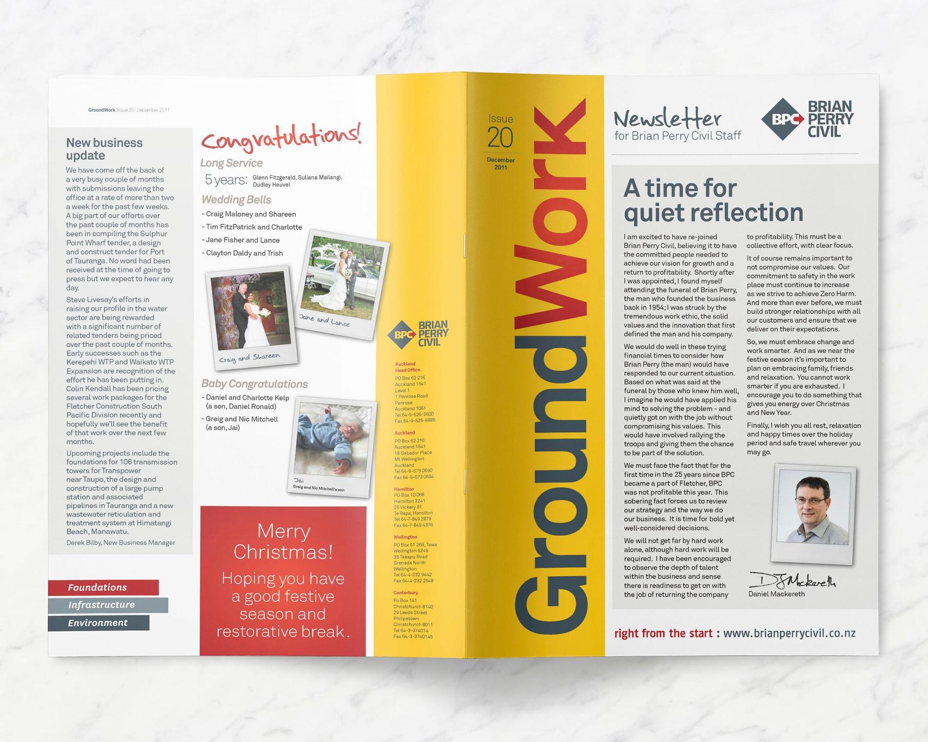 Cover and back page view of a newsletter