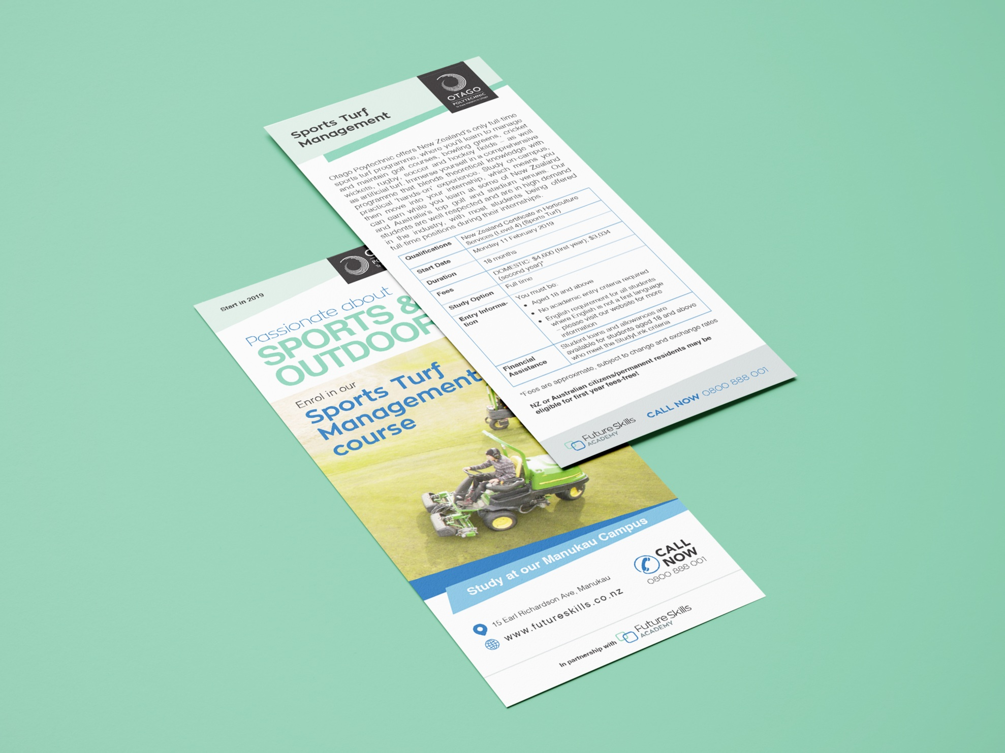 Two layered brochures displaying front and back design