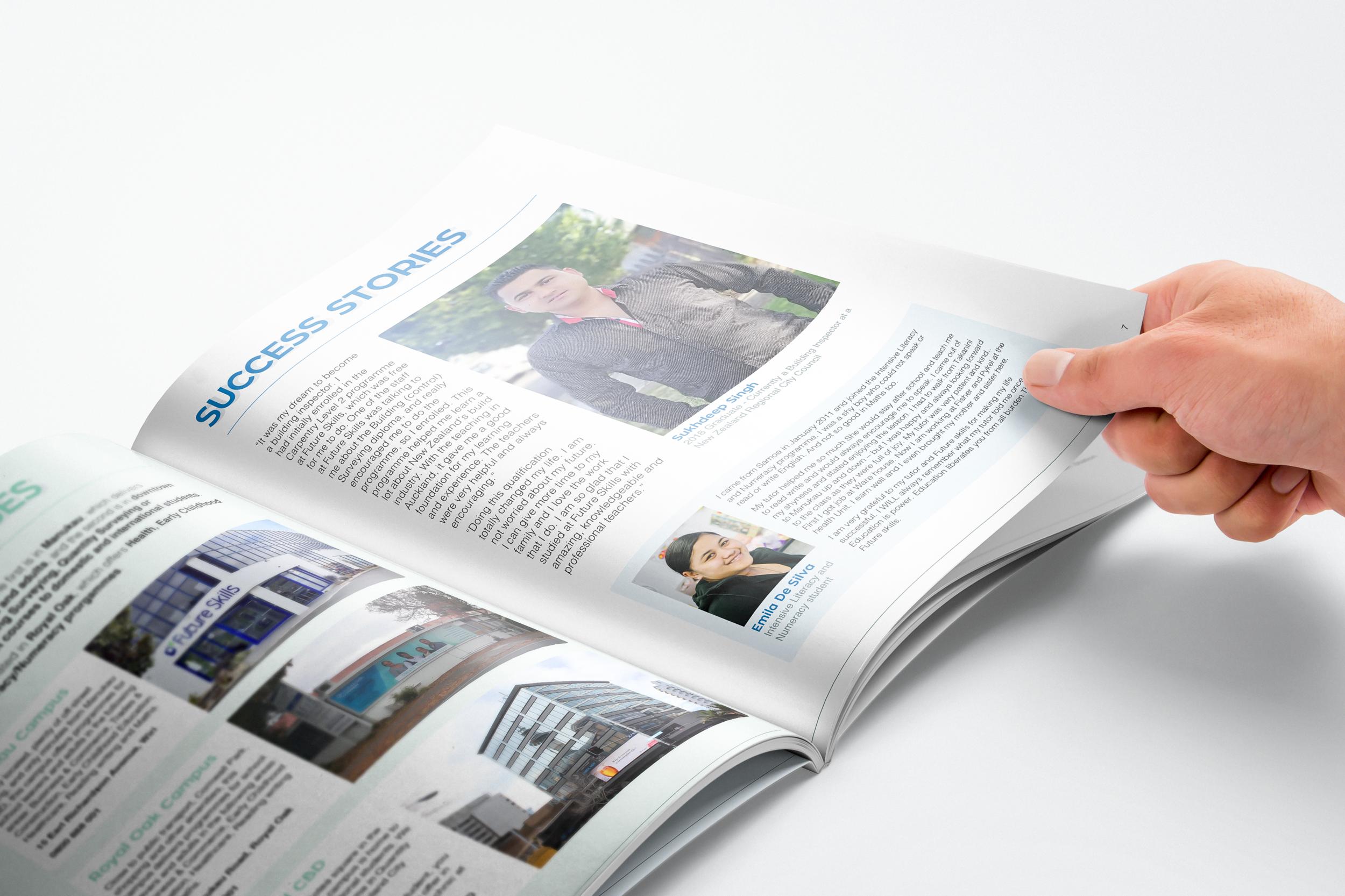 Hand flipping through open brochure