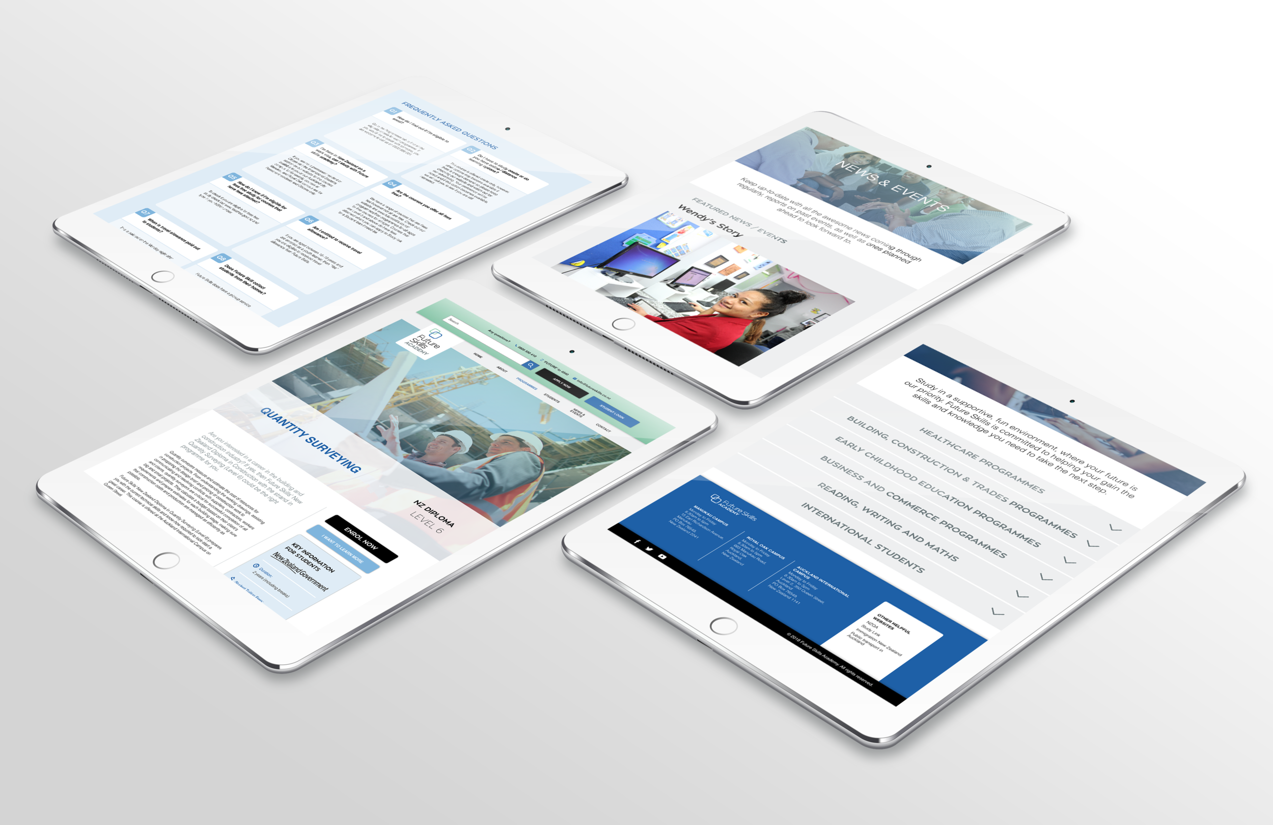 Four iPads display different layouts/pages of a website
