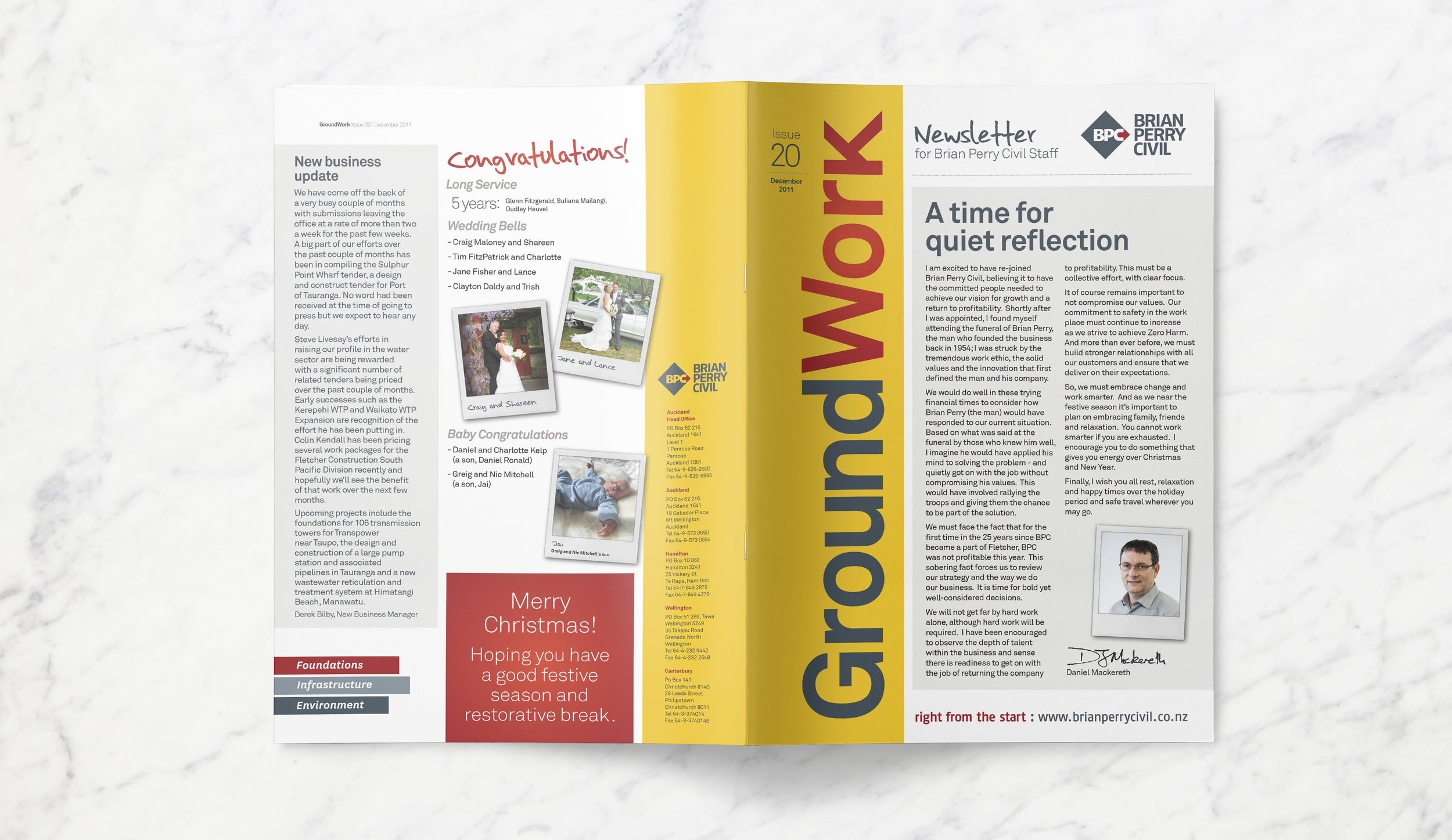 Cover and back view of an open newsletter