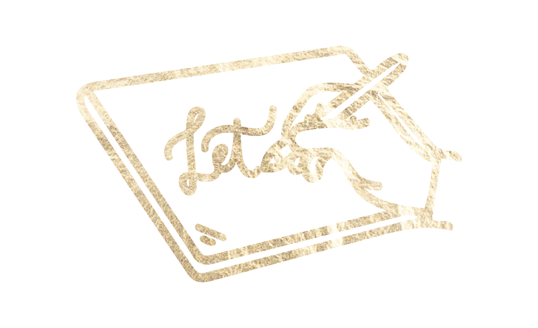 Hand with pen writing on iPad (icon)