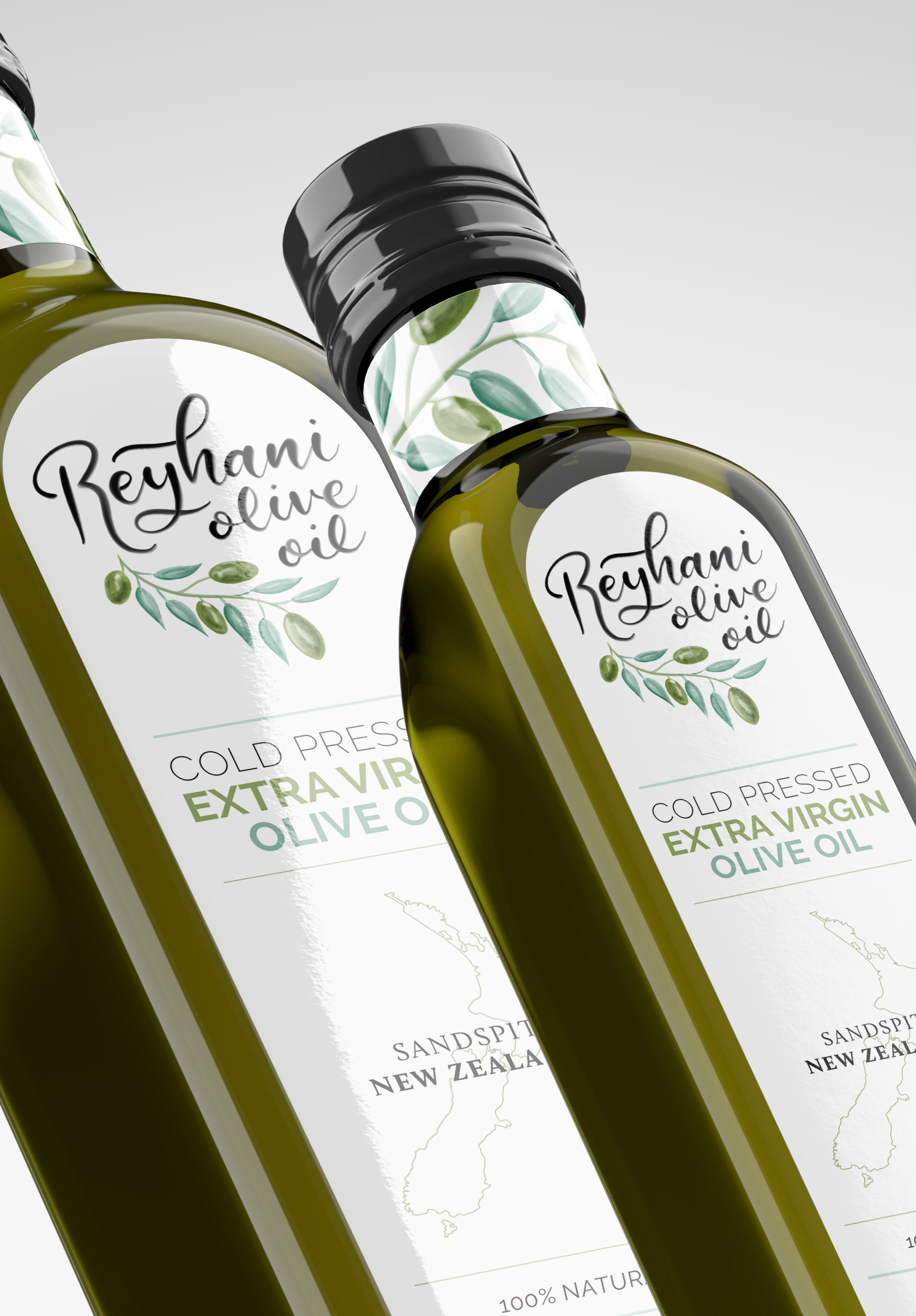 Close up of two olive oil bottles