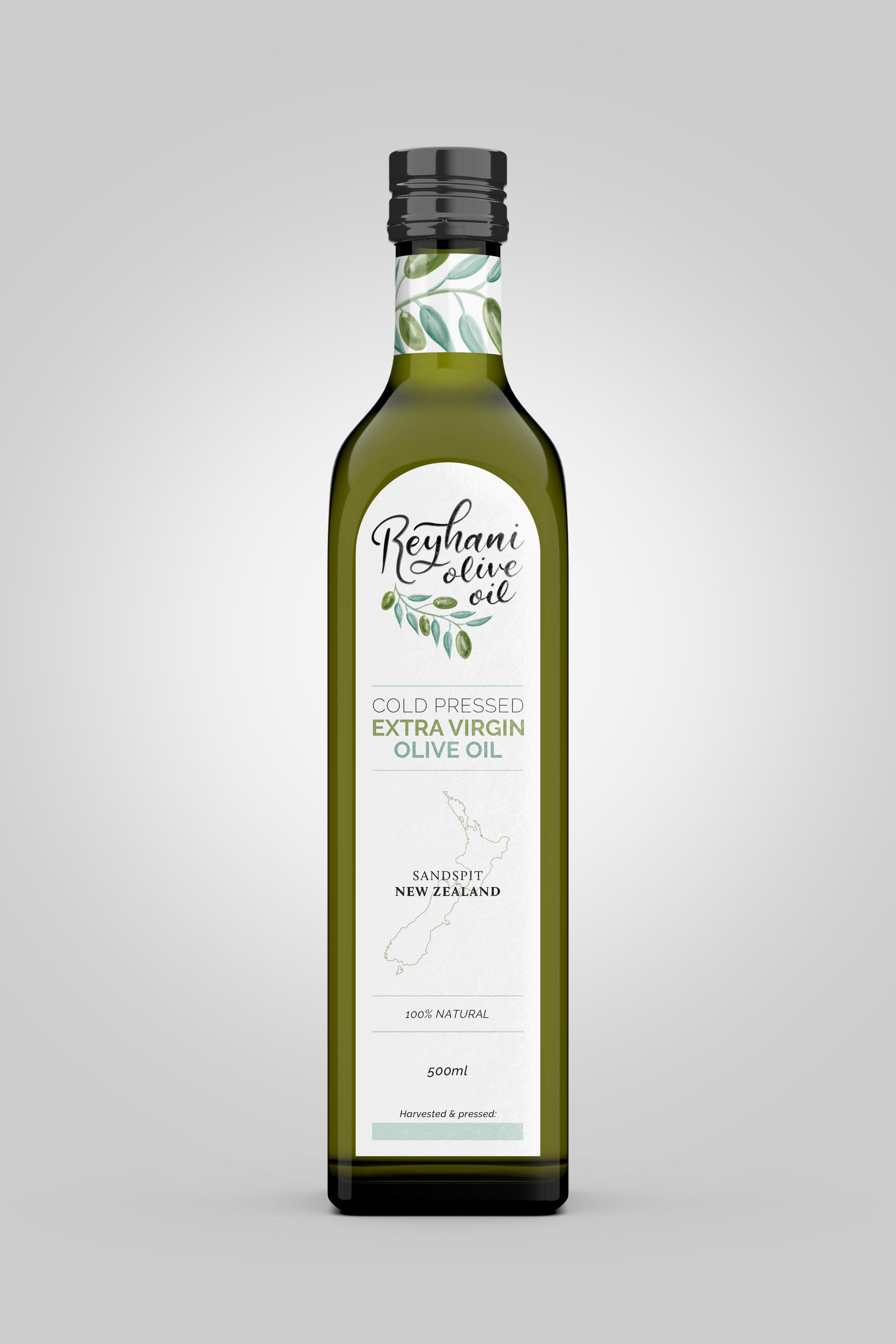 Full view of 500ml olive oil bottle