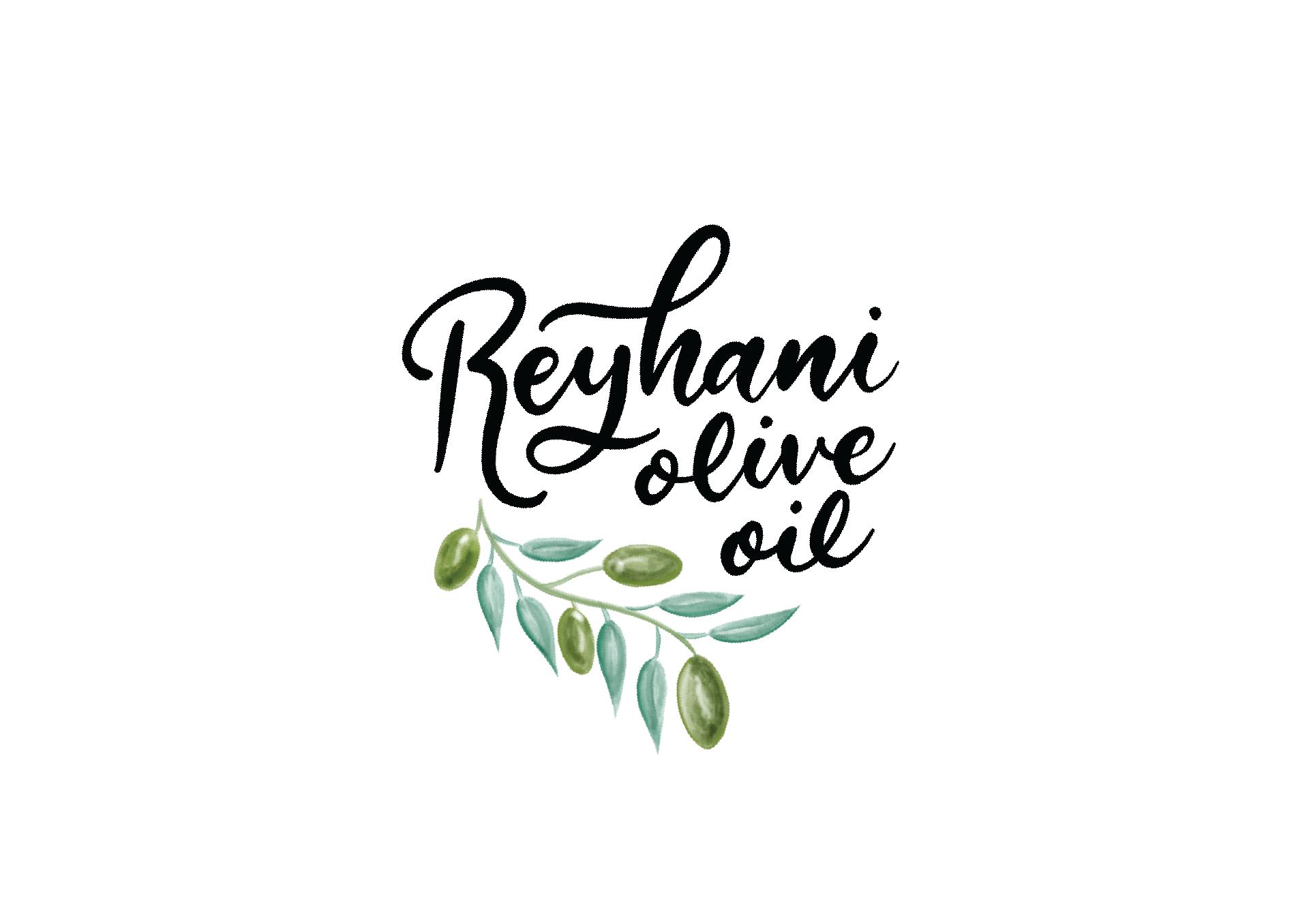 Hand lettered logo and olives illustration